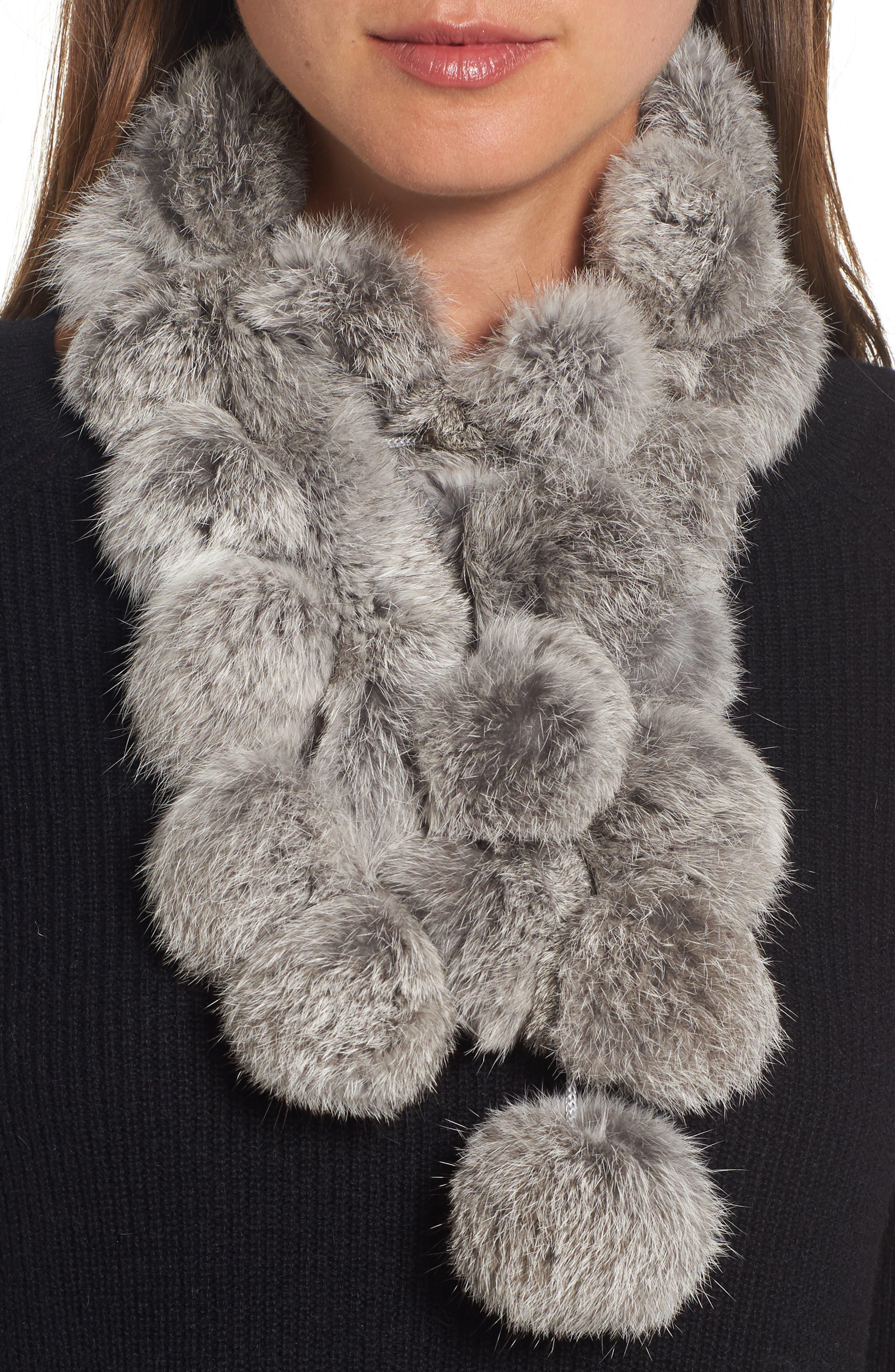 Genuine Rabbit Fur Scarf,                         Main,                         color, Grey