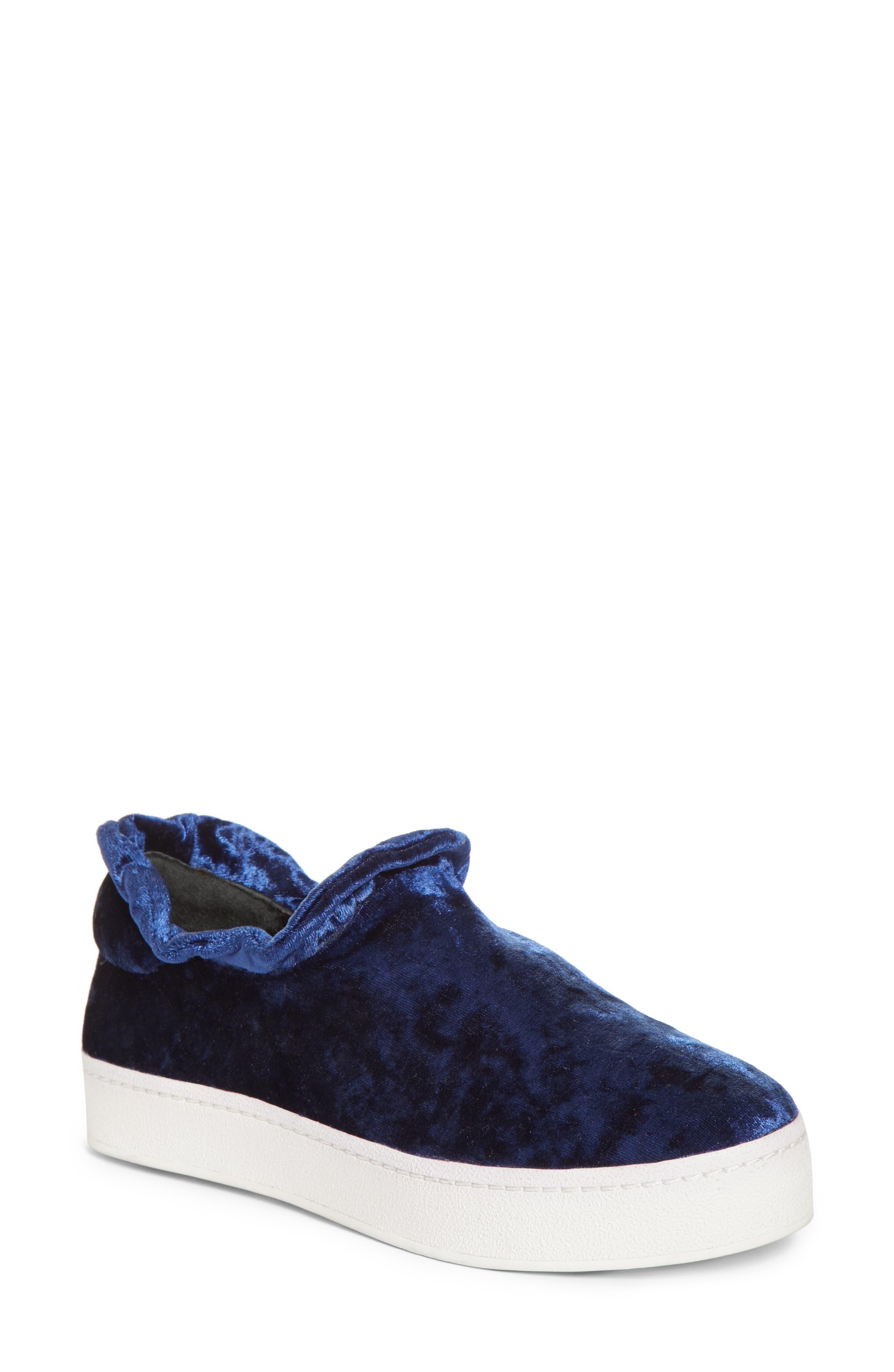 Cici Velvet Ruffle Slip-On Sneaker,                             Main thumbnail 1, color,                             Eclipse