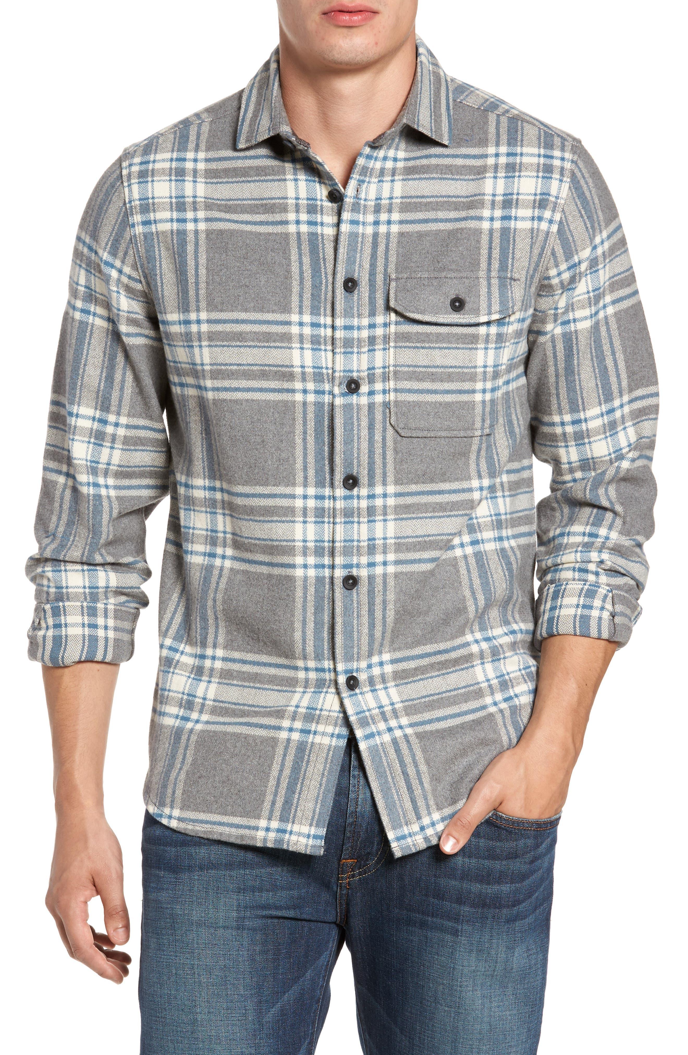 Marin Herringbone Plaid Flannel Shirt,                         Main,                         color, Smoked Pearl Heather