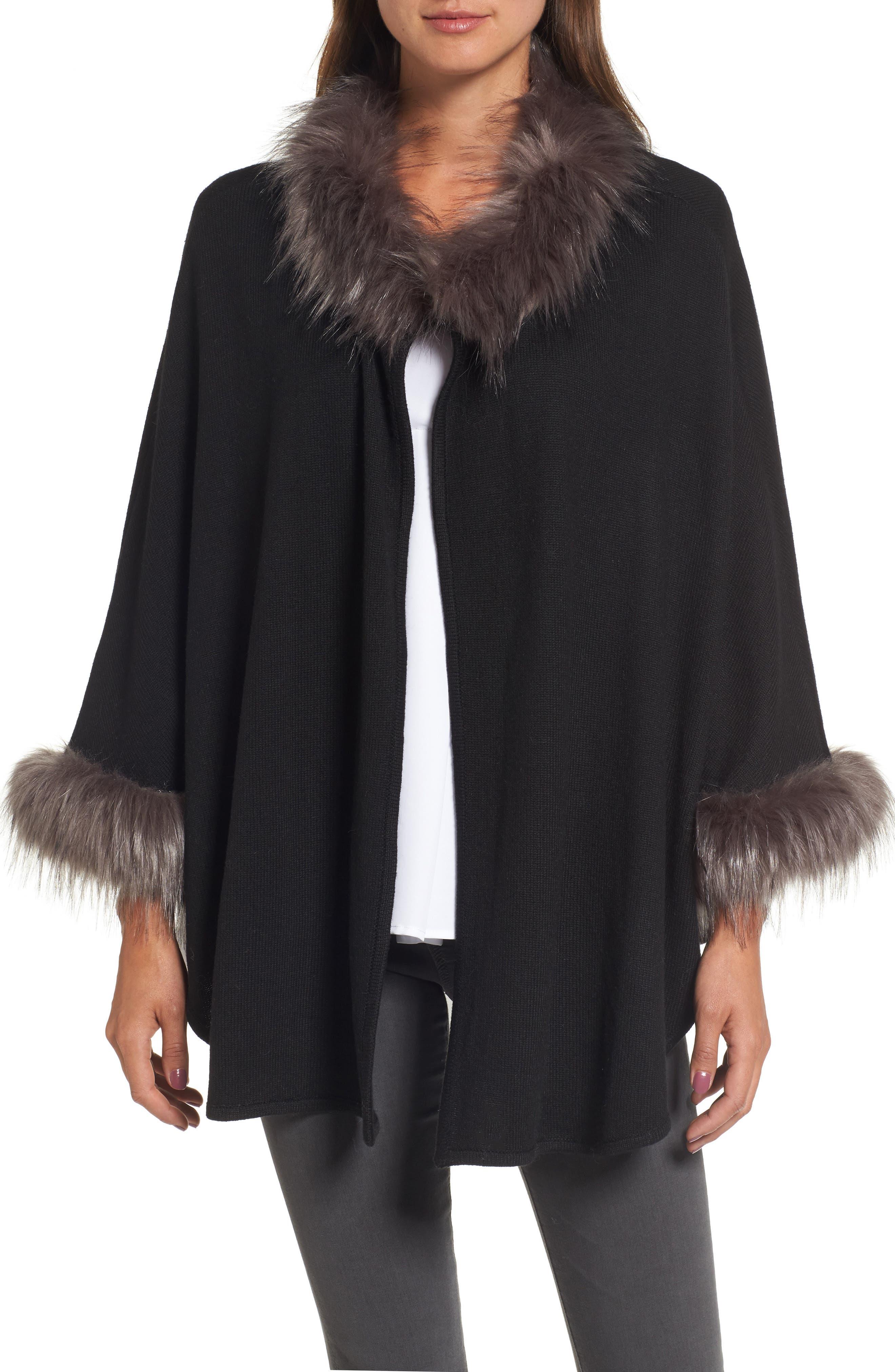 Knit Poncho with Faux Fur Trim,                         Main,                         color, Black