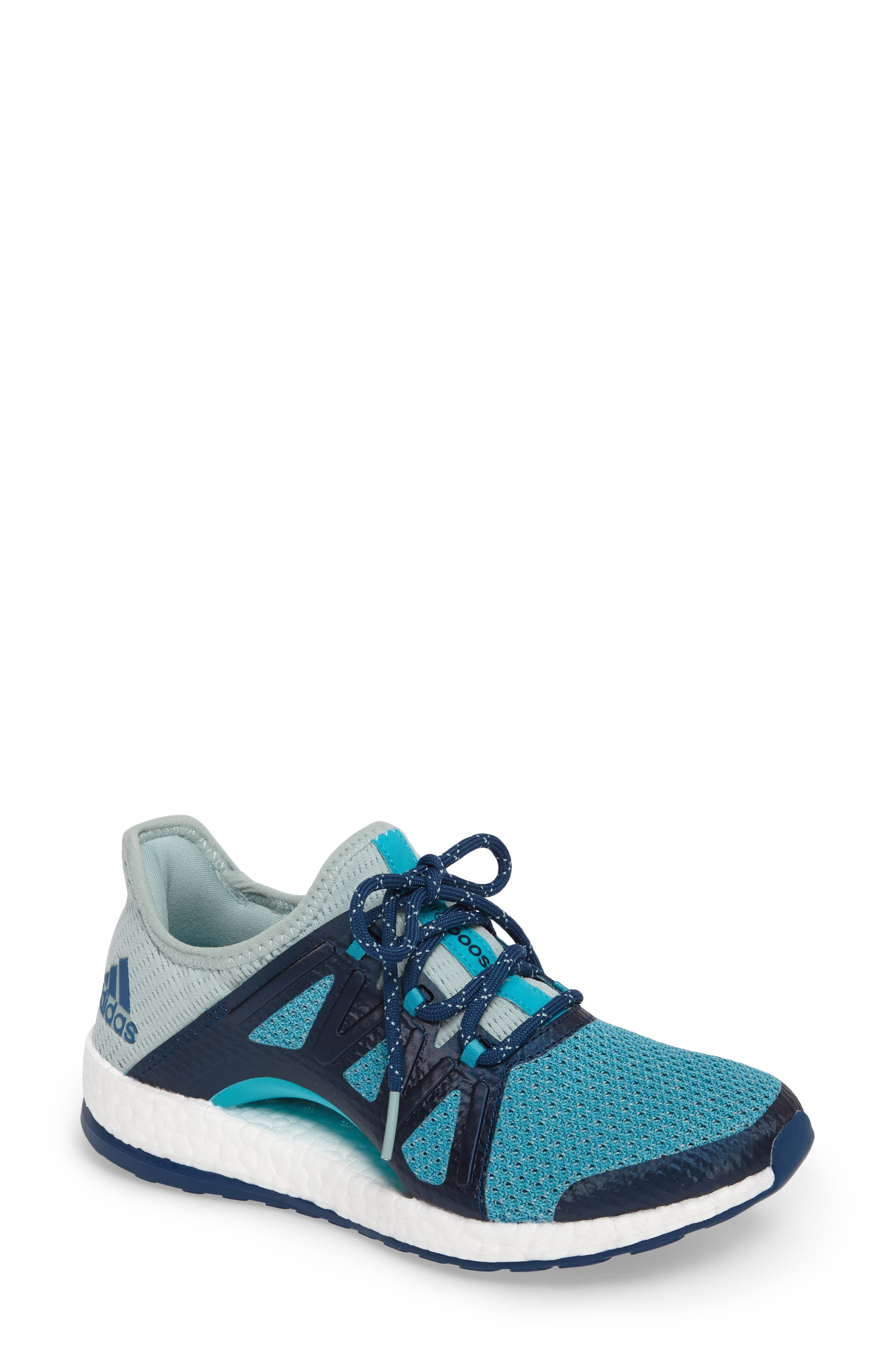PureBOOST Xpose Running Shoe,                             Main thumbnail 1, color,                             Tactile Green/ Energy Blue
