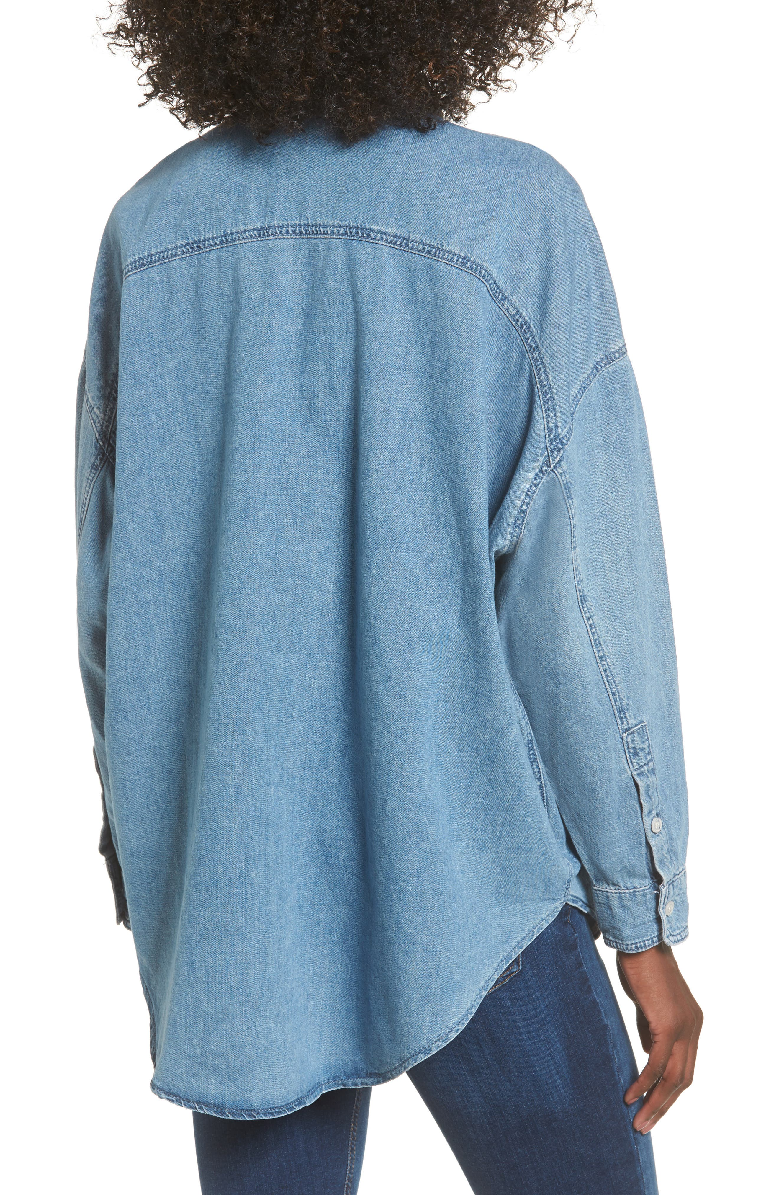 Alternate Image 2  - Topshop Elton Oversized Denim Shirt