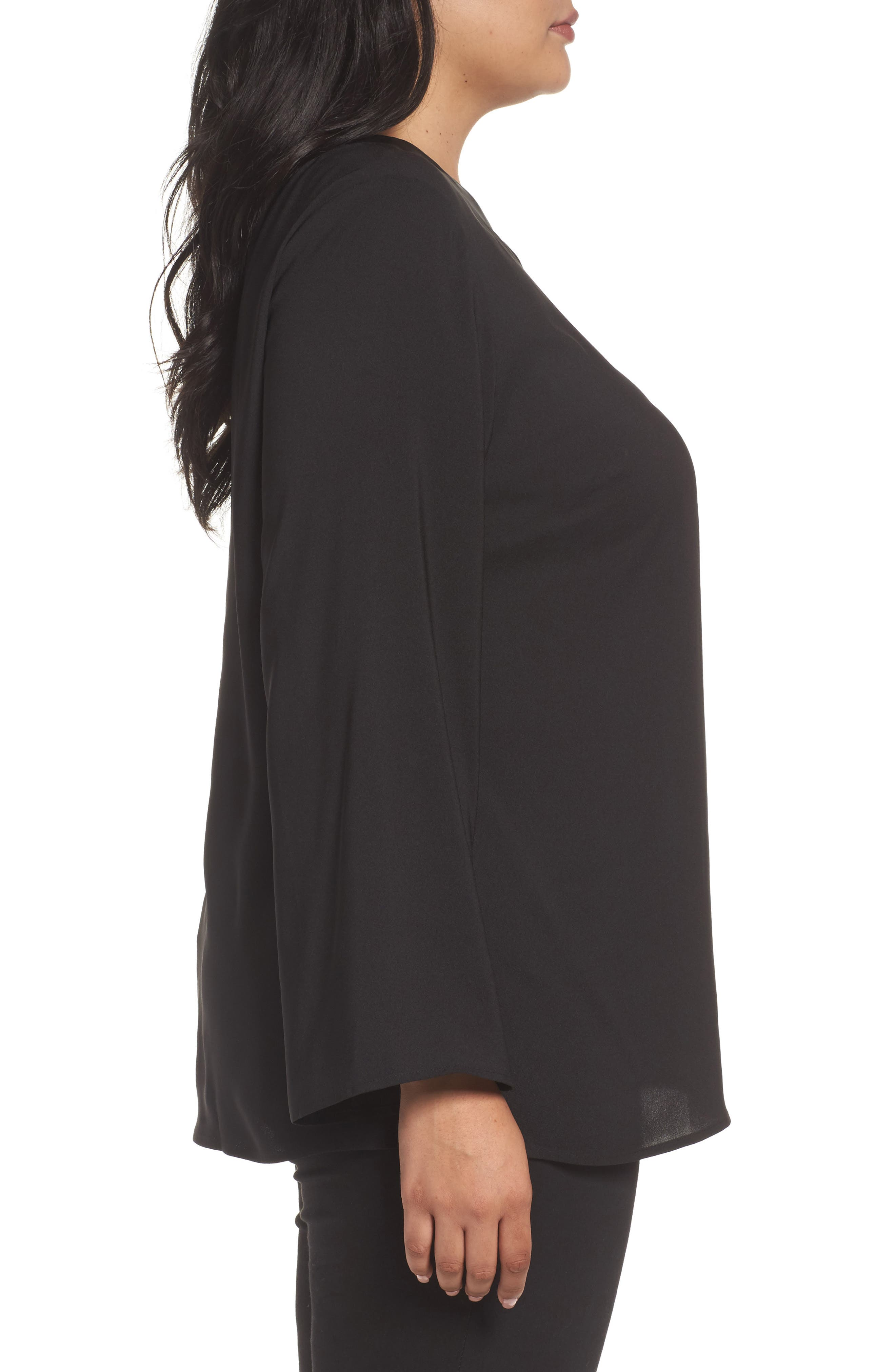 One-Shoulder Bell Sleeve Top,                             Alternate thumbnail 3, color,                             Black