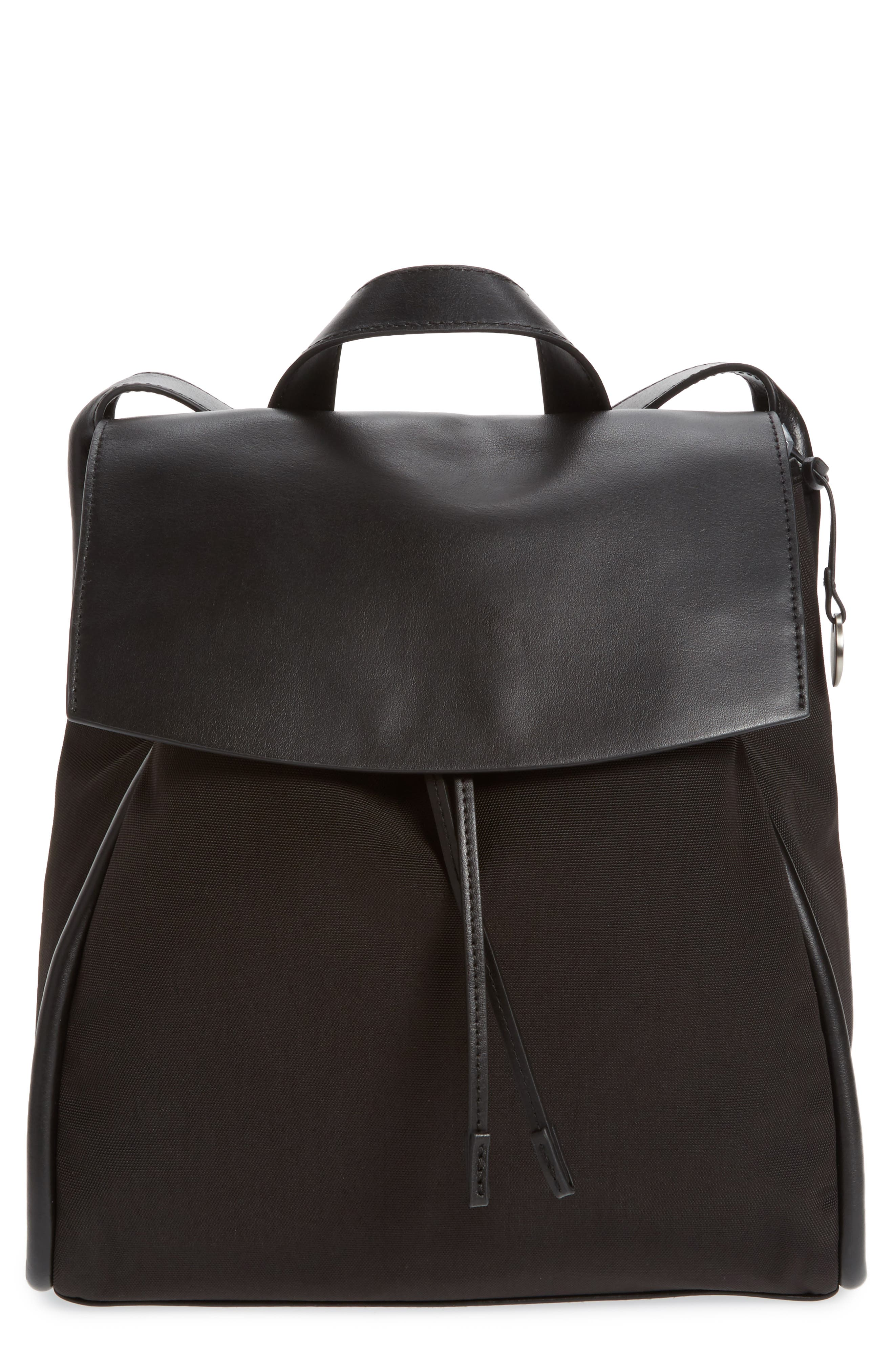 Ebba Leather Backpack,                         Main,                         color, Black