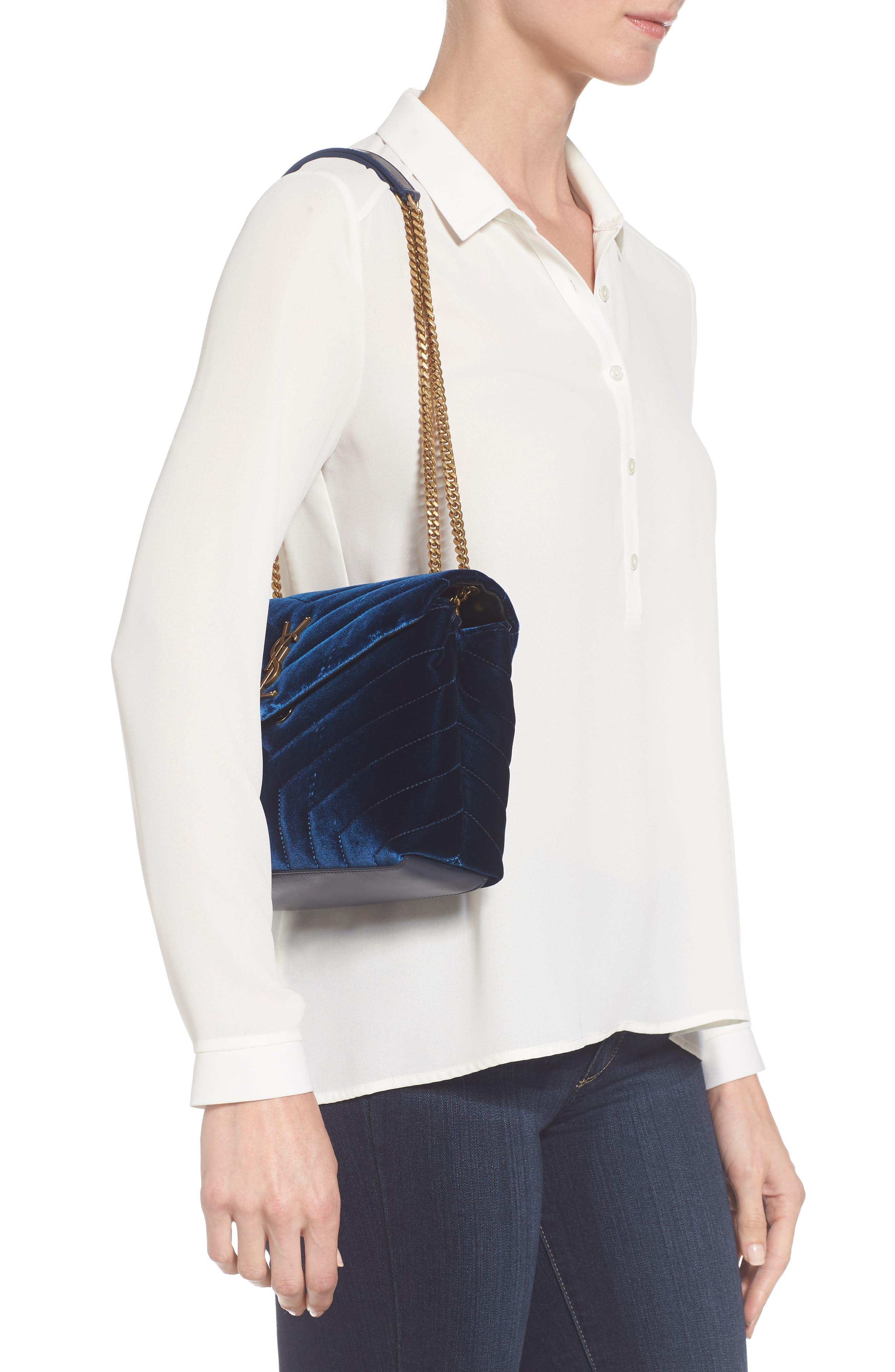 Alternate Image 2  - Saint Laurent Small LouLou Matelassé Velour Shoulder Bag