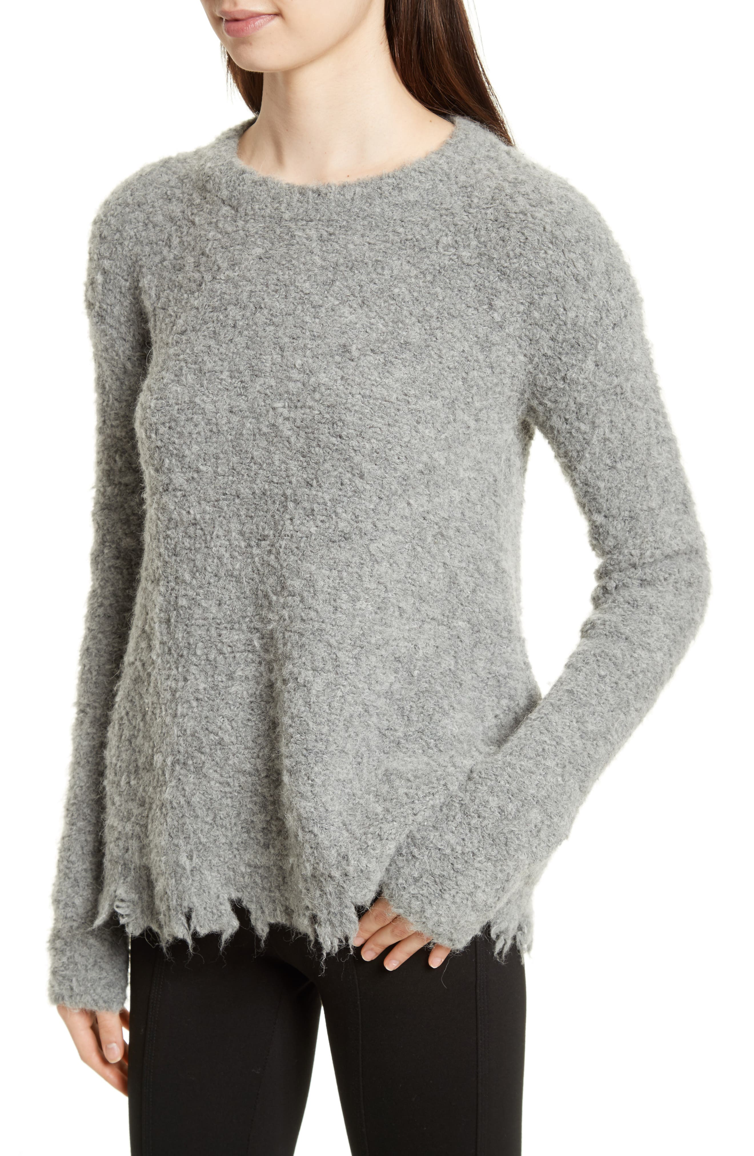 Destroyed Hem Sweater,                             Alternate thumbnail 4, color,                             Heather Grey