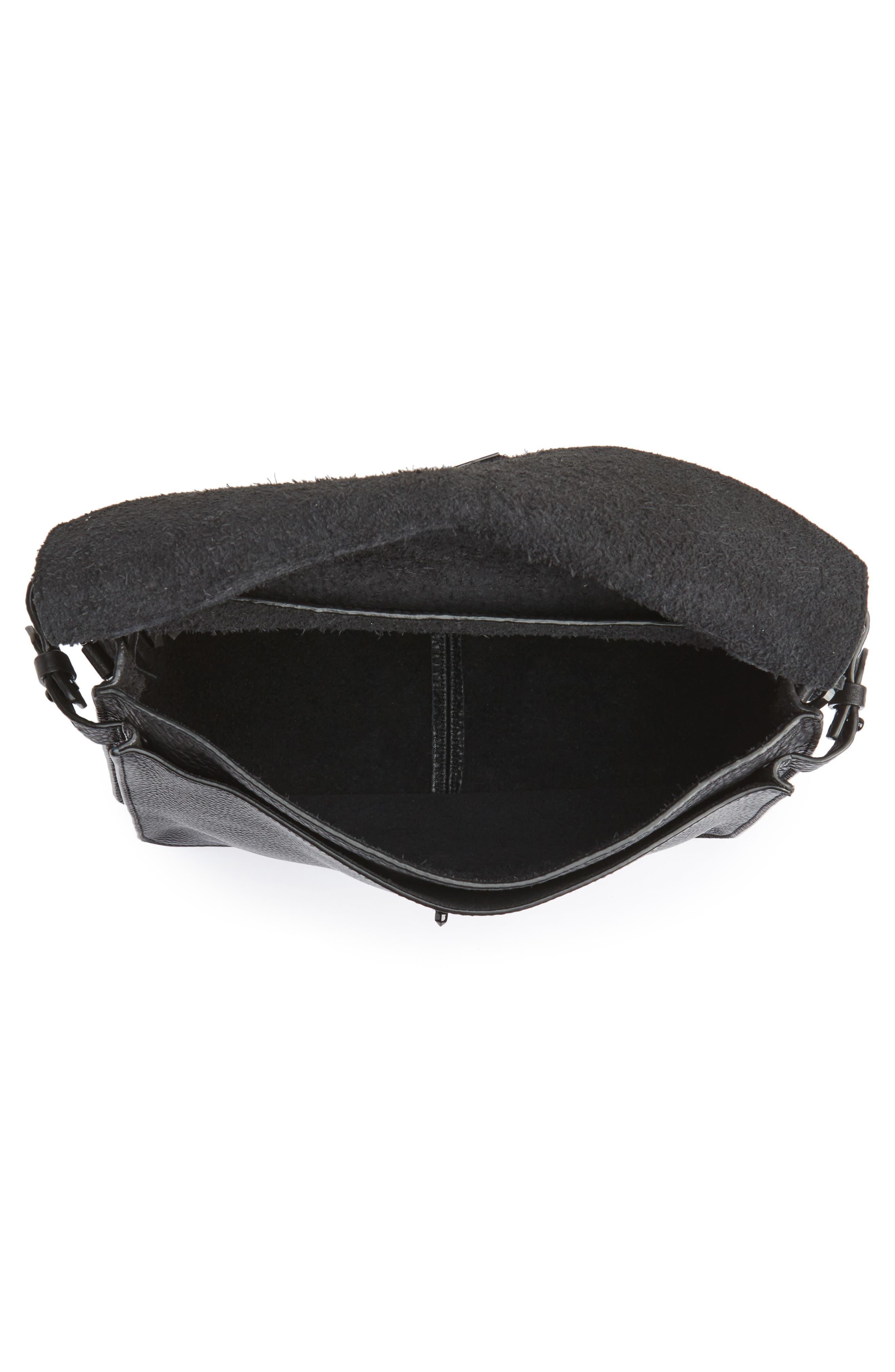Darren Leather Messenger Bag,                             Alternate thumbnail 4, color,                             Black