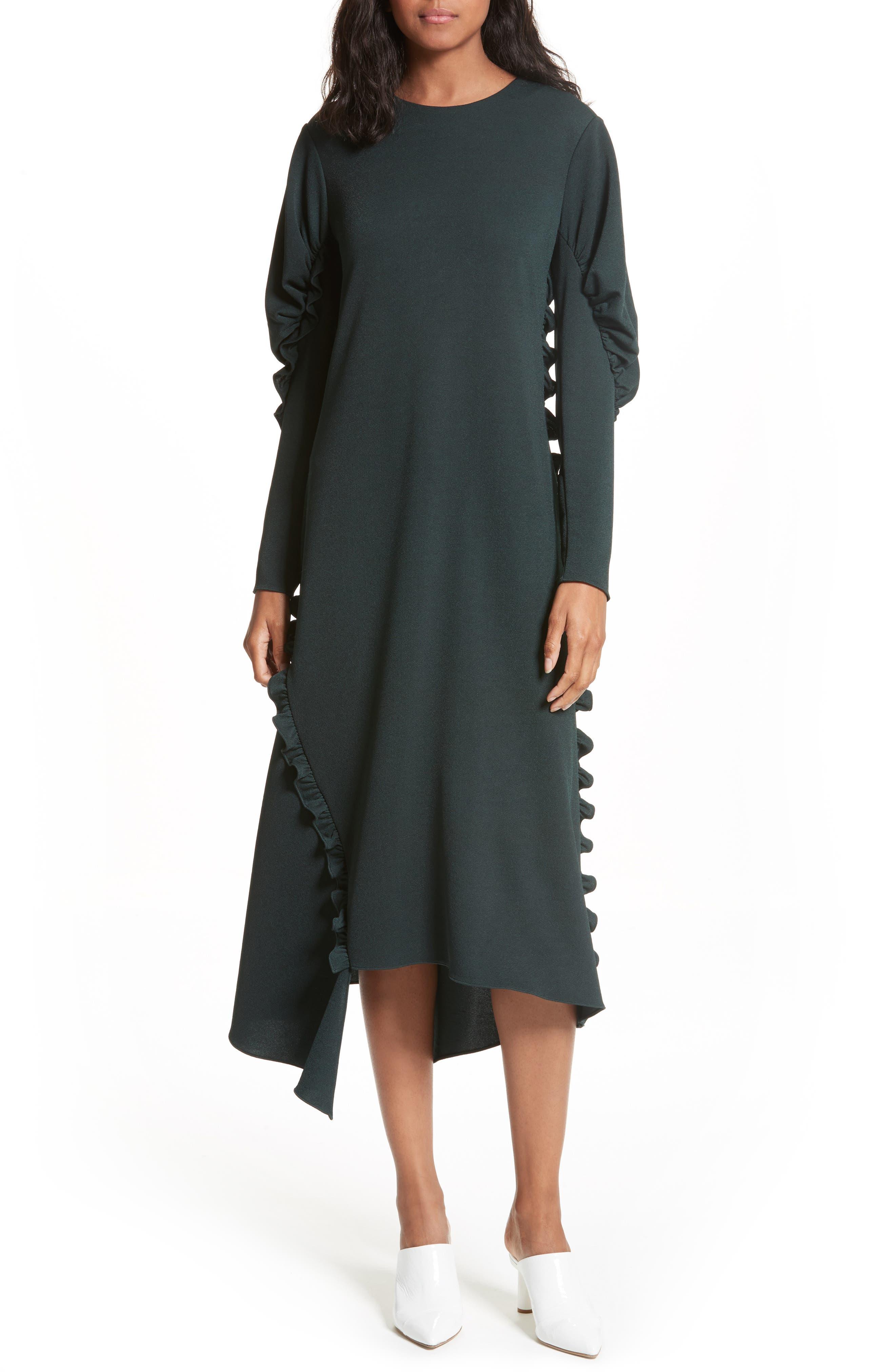 Ruffled Crepe Knit Midi Dress,                         Main,                         color, Spruce