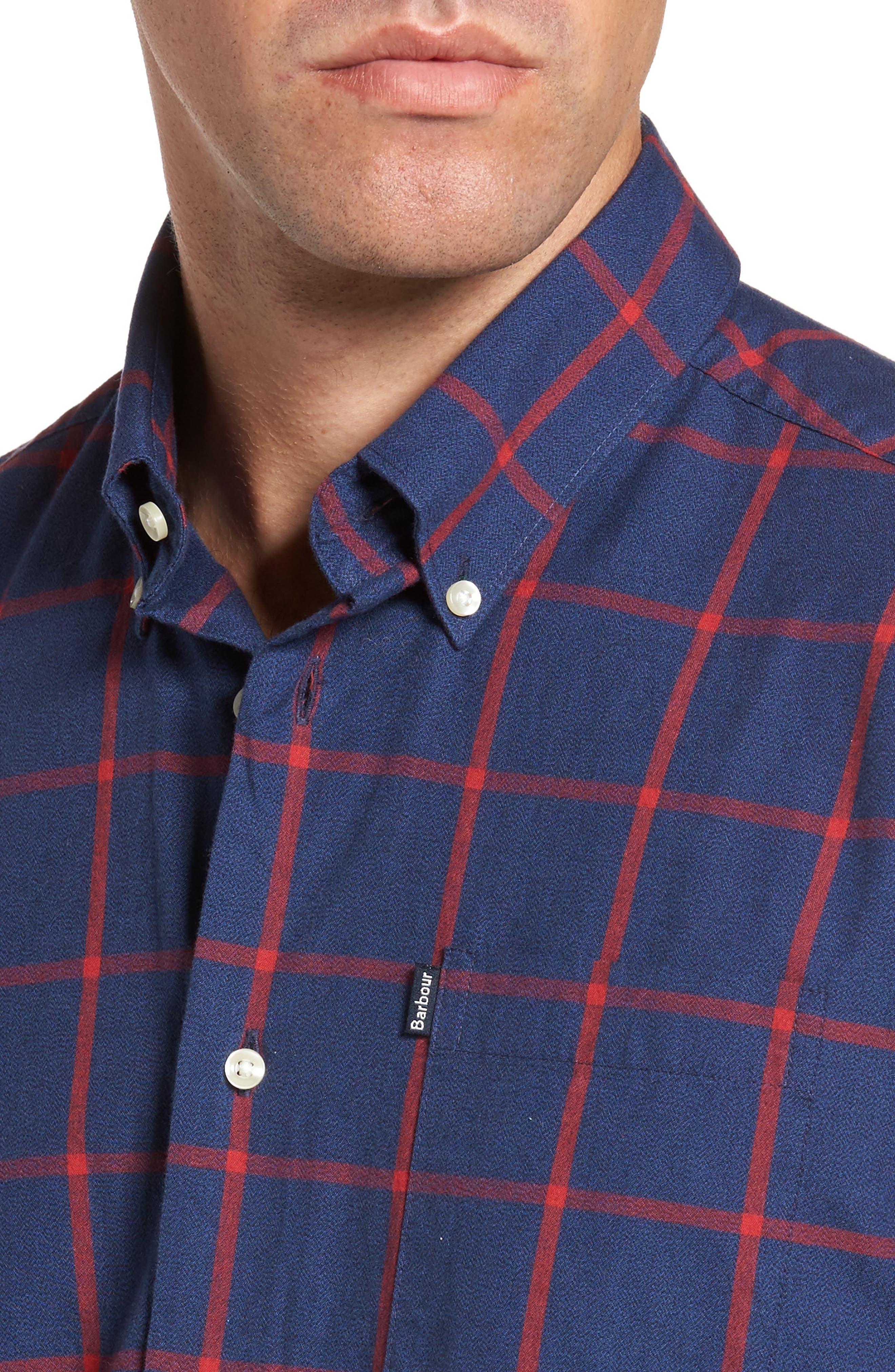 Baxter Tattersall Sport Shirt,                             Alternate thumbnail 4, color,                             Navy