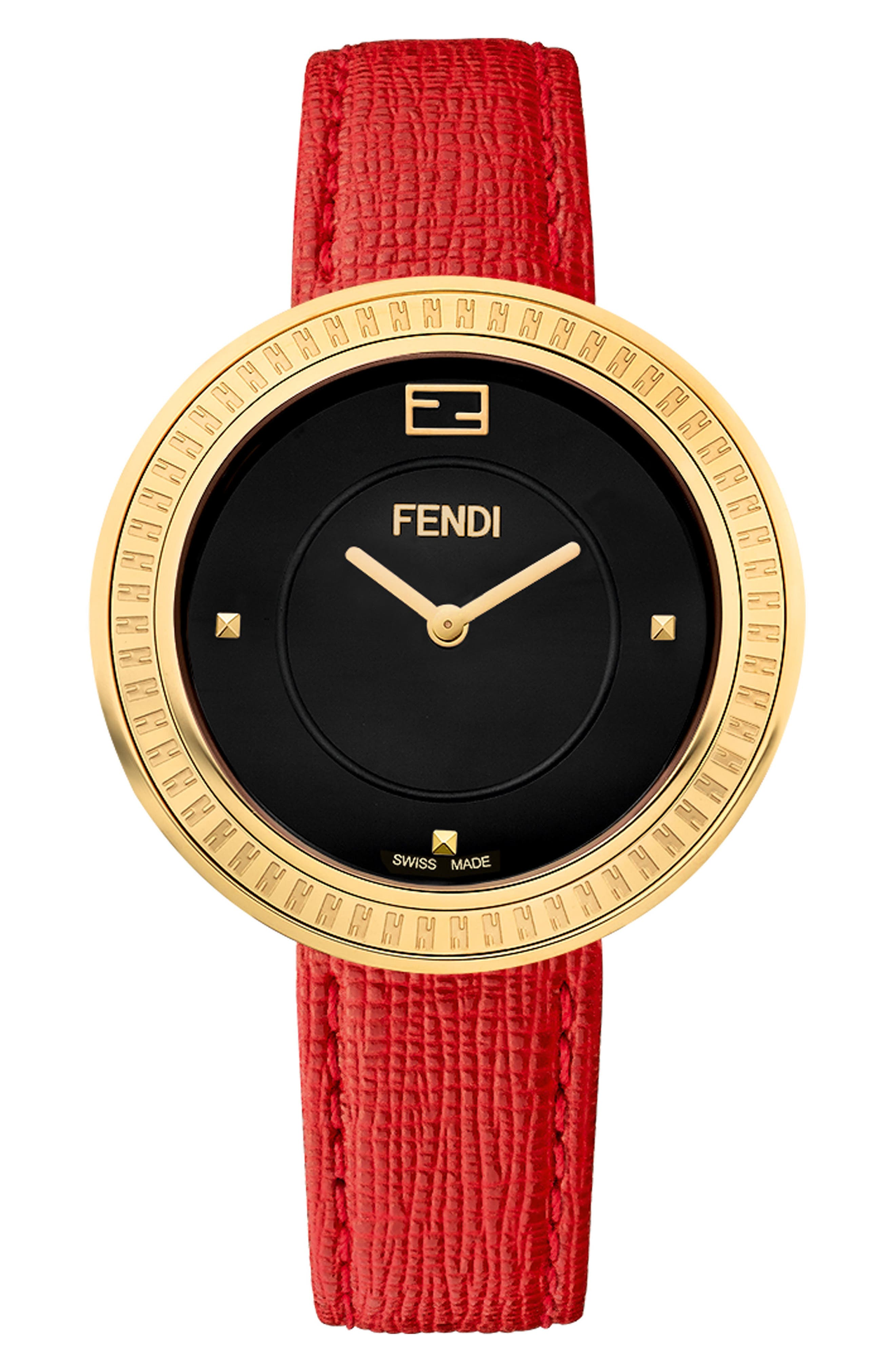 My Way Genuine Fox Fur Leather Strap Watch, 36mm,                             Alternate thumbnail 3, color,                             Red/ Black/ Gold