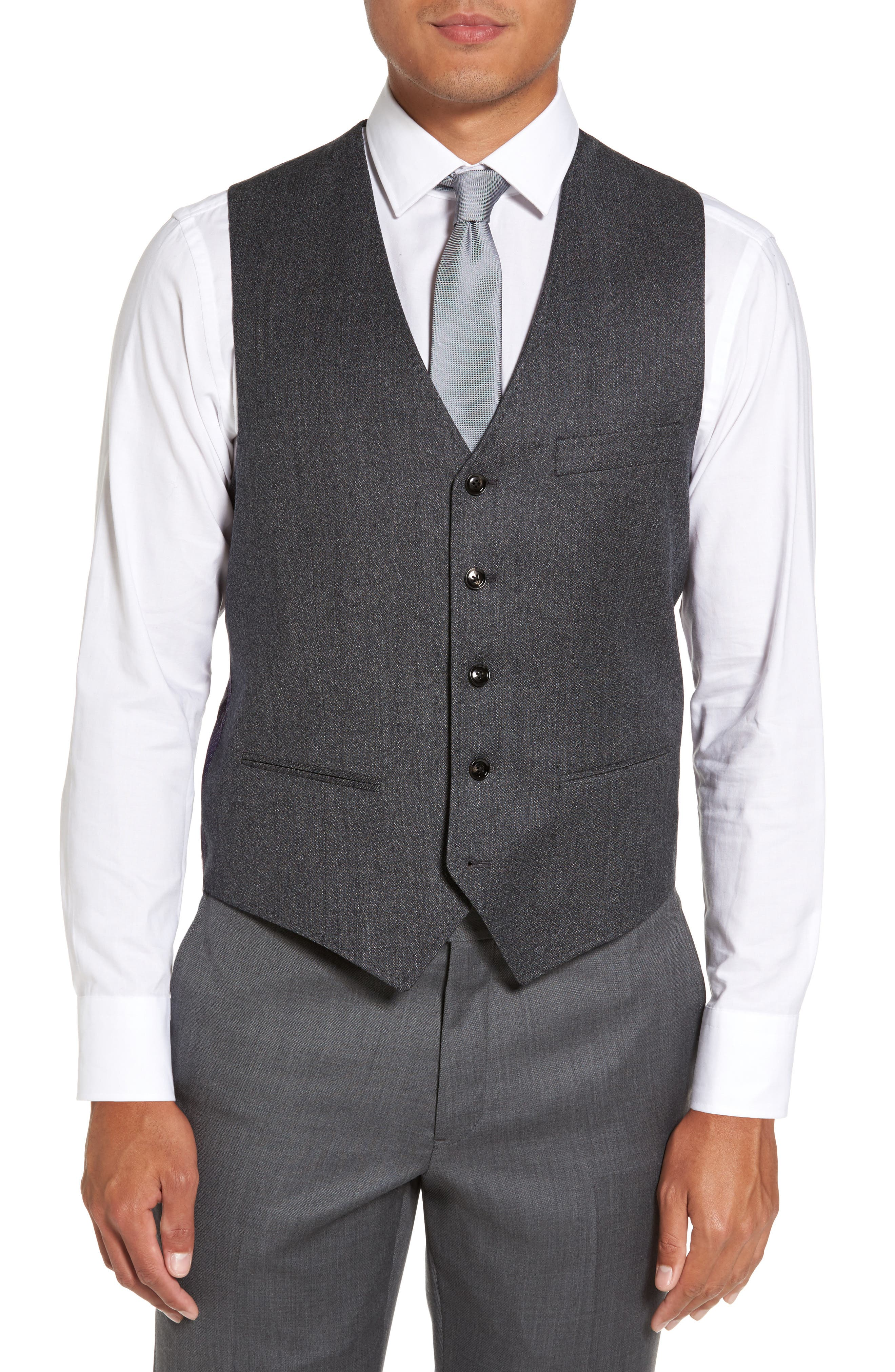 Alternate Image 1 Selected - Ted Baker London Troy Trim Fit Solid Wool Vest