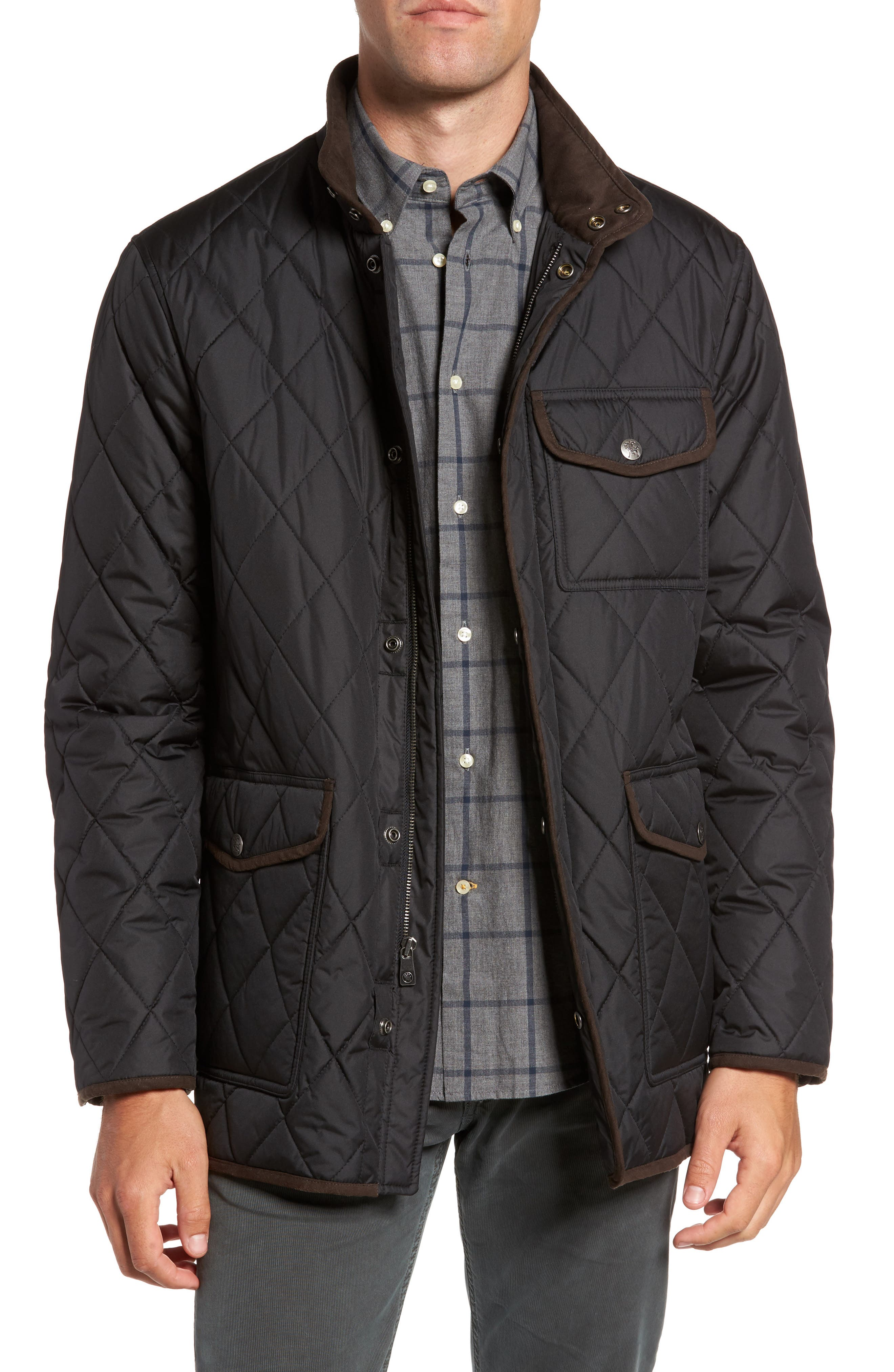 Hart Schaffner Marx Mulberry Quilted Stand Collar Jacket