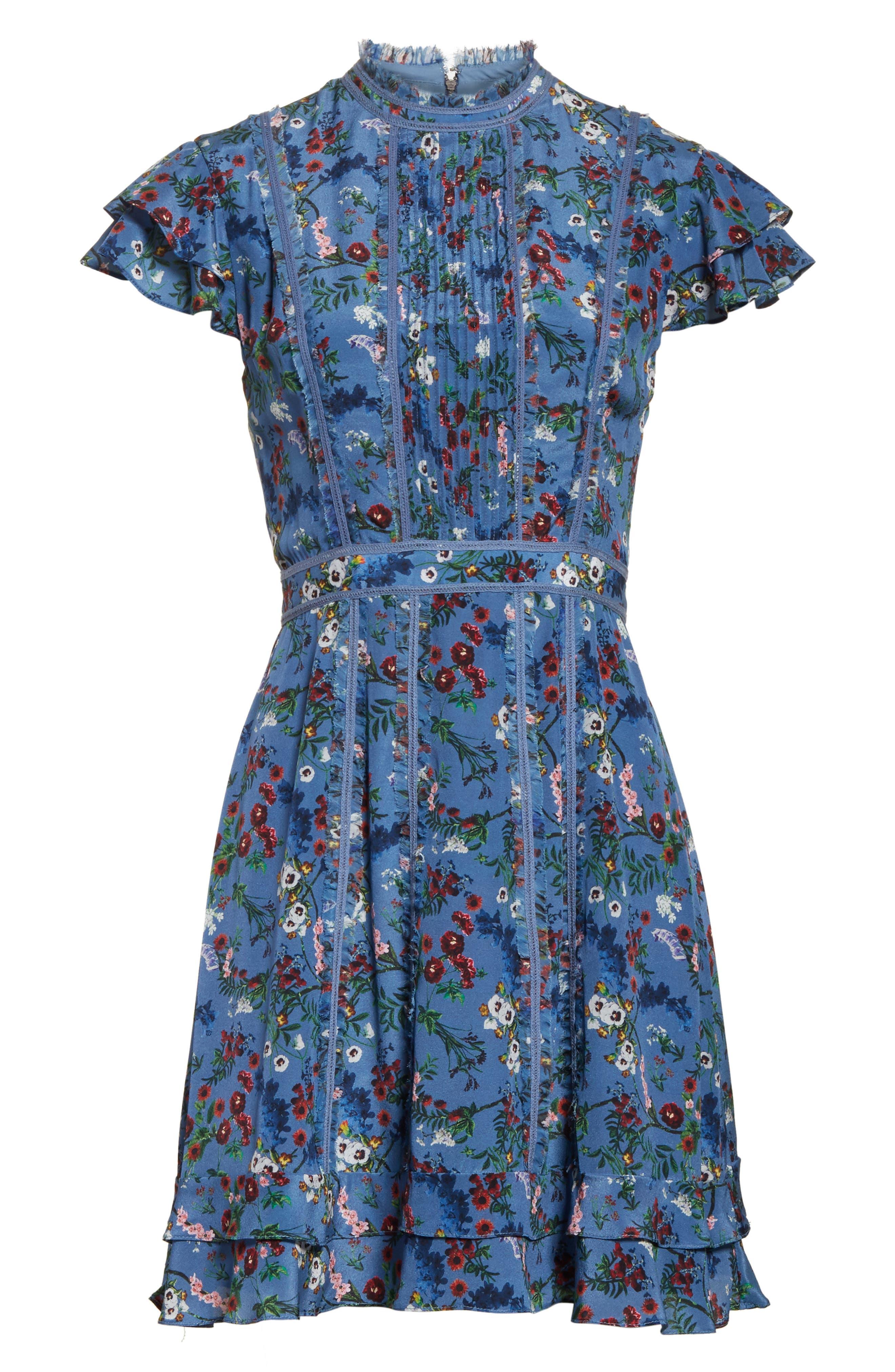 Alternate Image 6  - Alice + Olivia Marta High Neck Floral Silk Dress