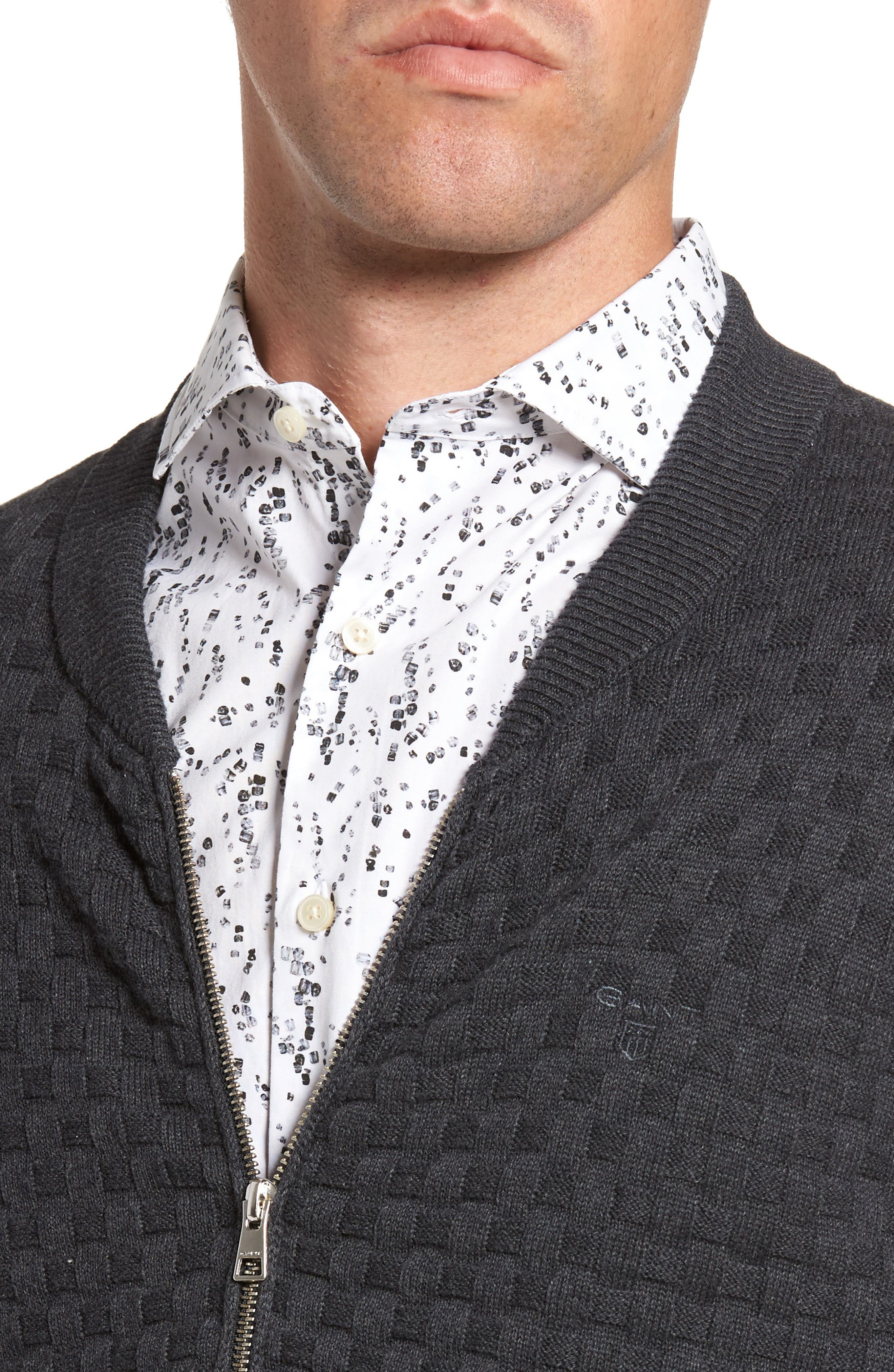 Alternate Image 4  - Gant Basket Weave Zip Cardigan