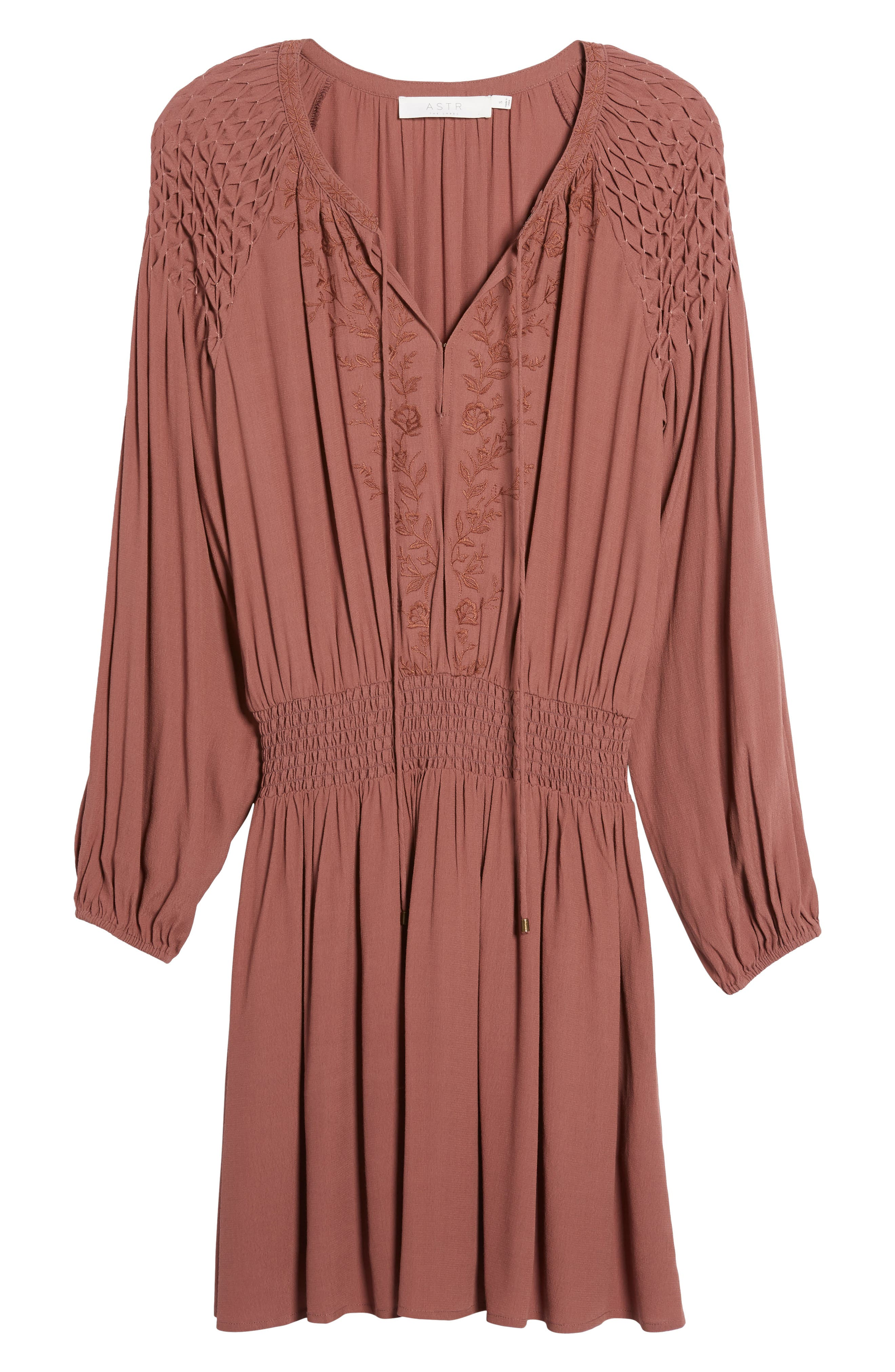 Melinda Blouson Dress,                             Alternate thumbnail 7, color,                             Dark Mauve