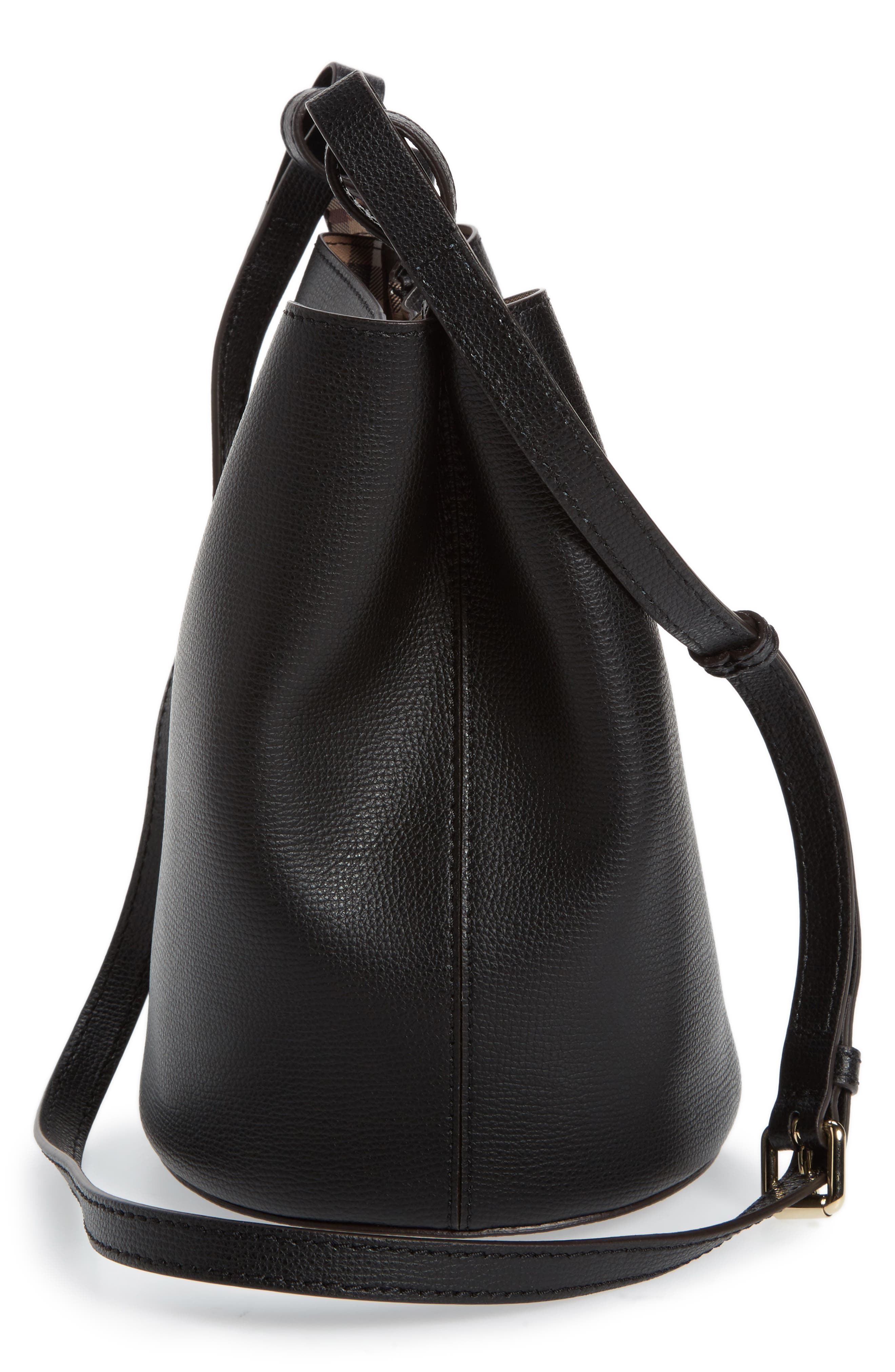 Small Lorne Leather Bucket Bag,                             Alternate thumbnail 5, color,                             Black