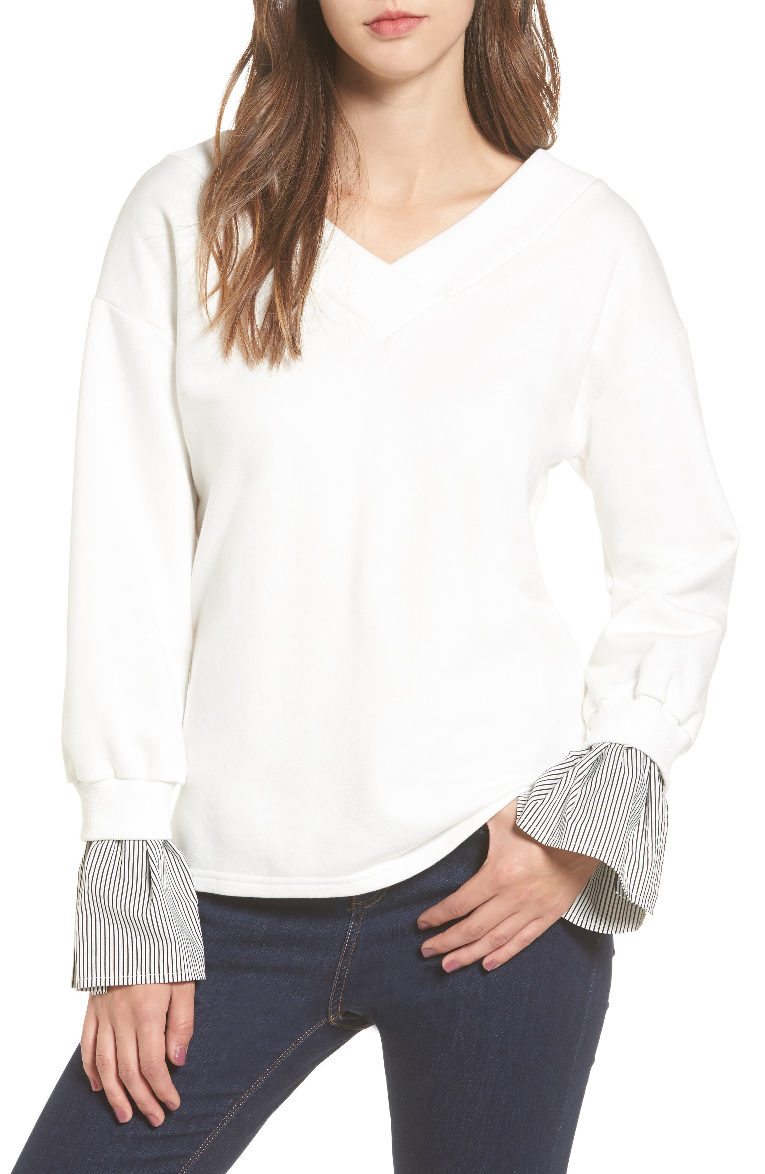 Ruffle Cuff Sweatshirt,                         Main,                         color, White