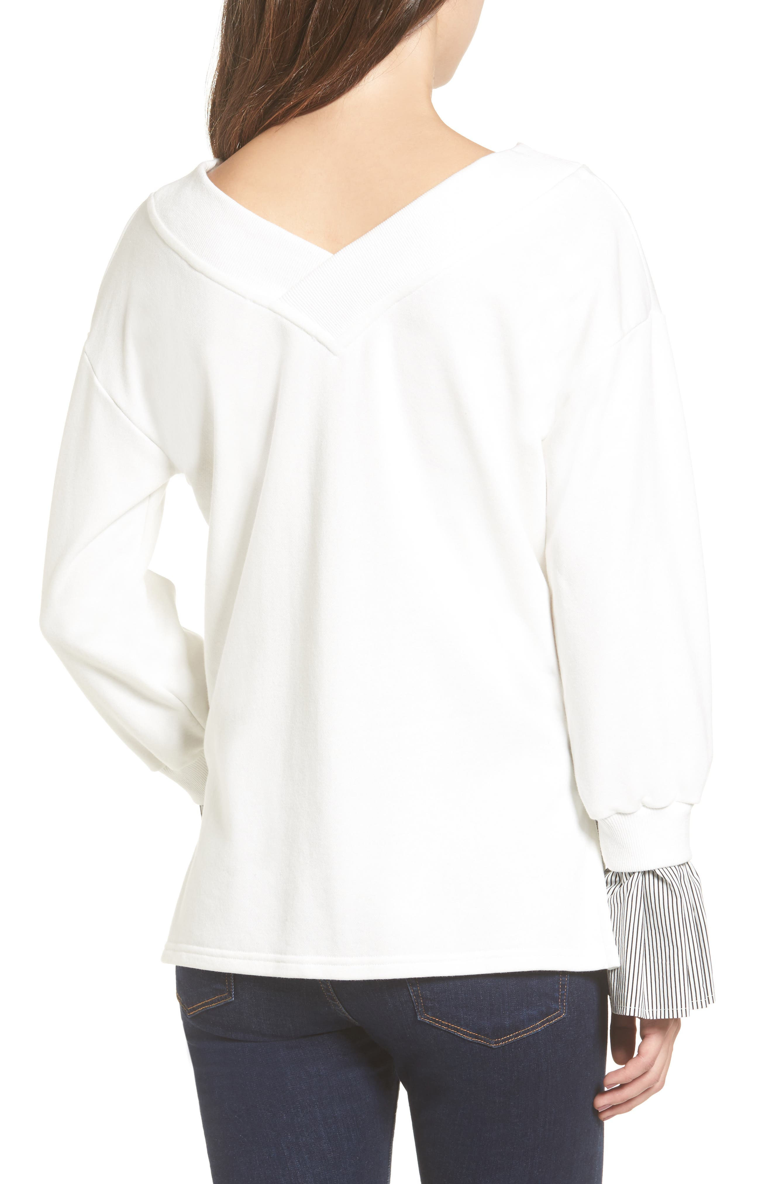 Ruffle Cuff Sweatshirt,                             Alternate thumbnail 2, color,                             White
