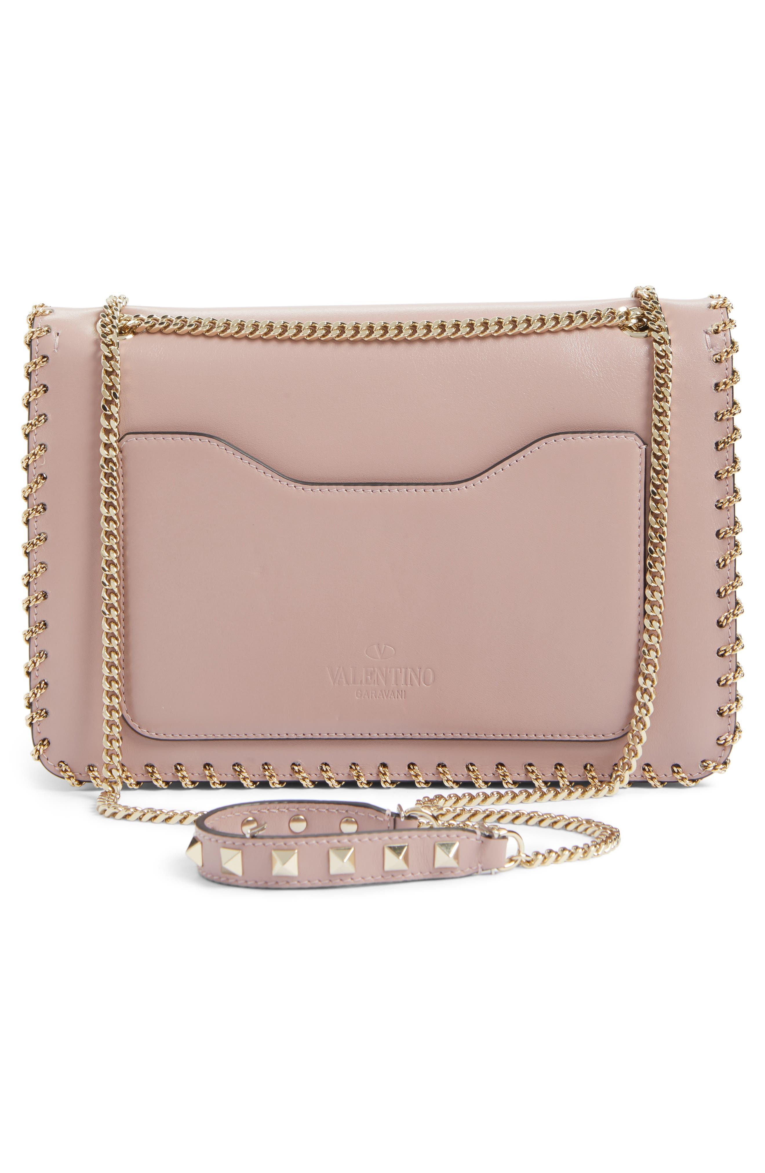 Demilune Whipstitch Leather Shoulder Bag,                             Alternate thumbnail 3, color,                             Lipstick