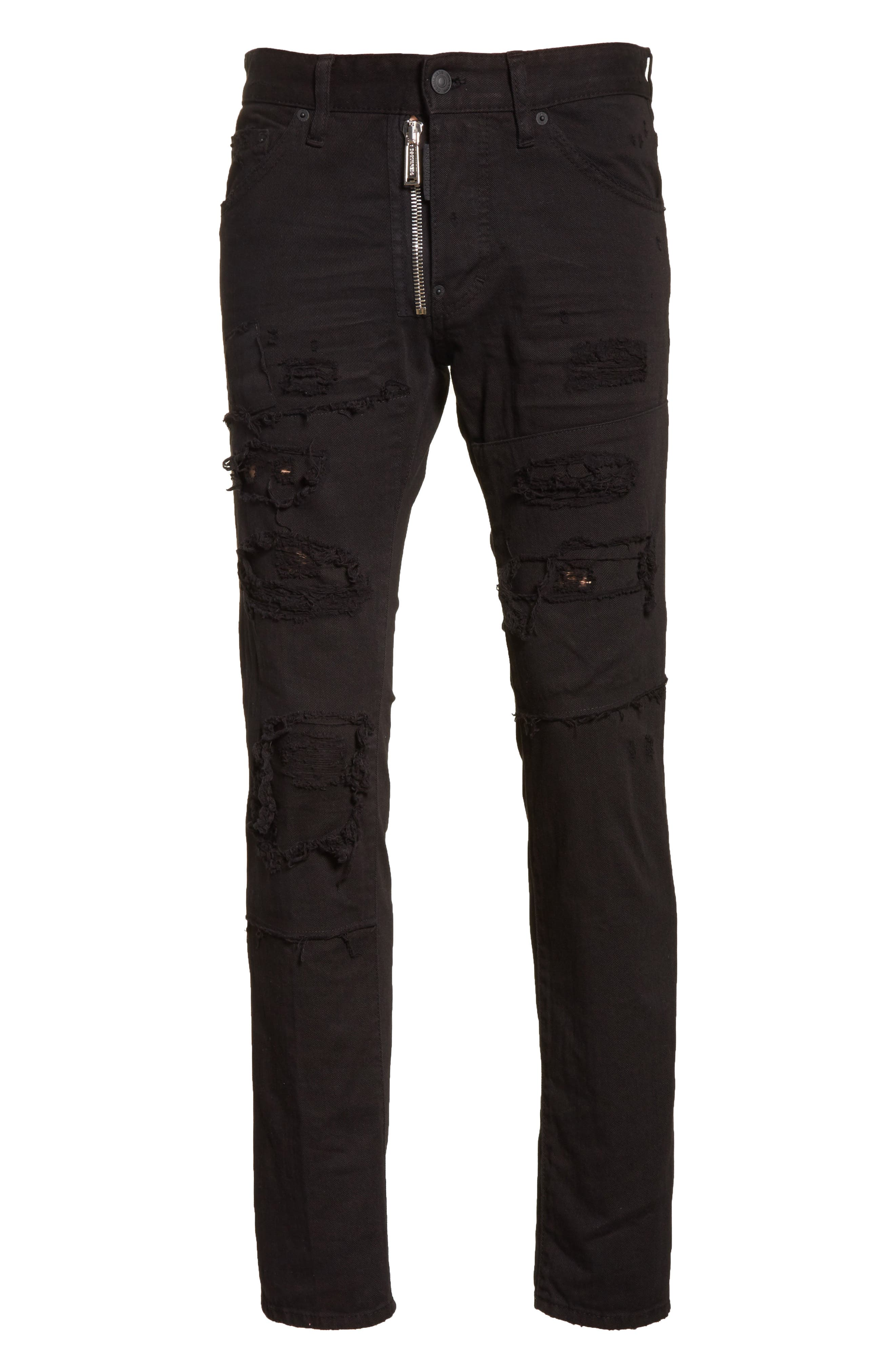 Ripped Washed Cool Guy Jeans,                             Alternate thumbnail 6, color,                             Black