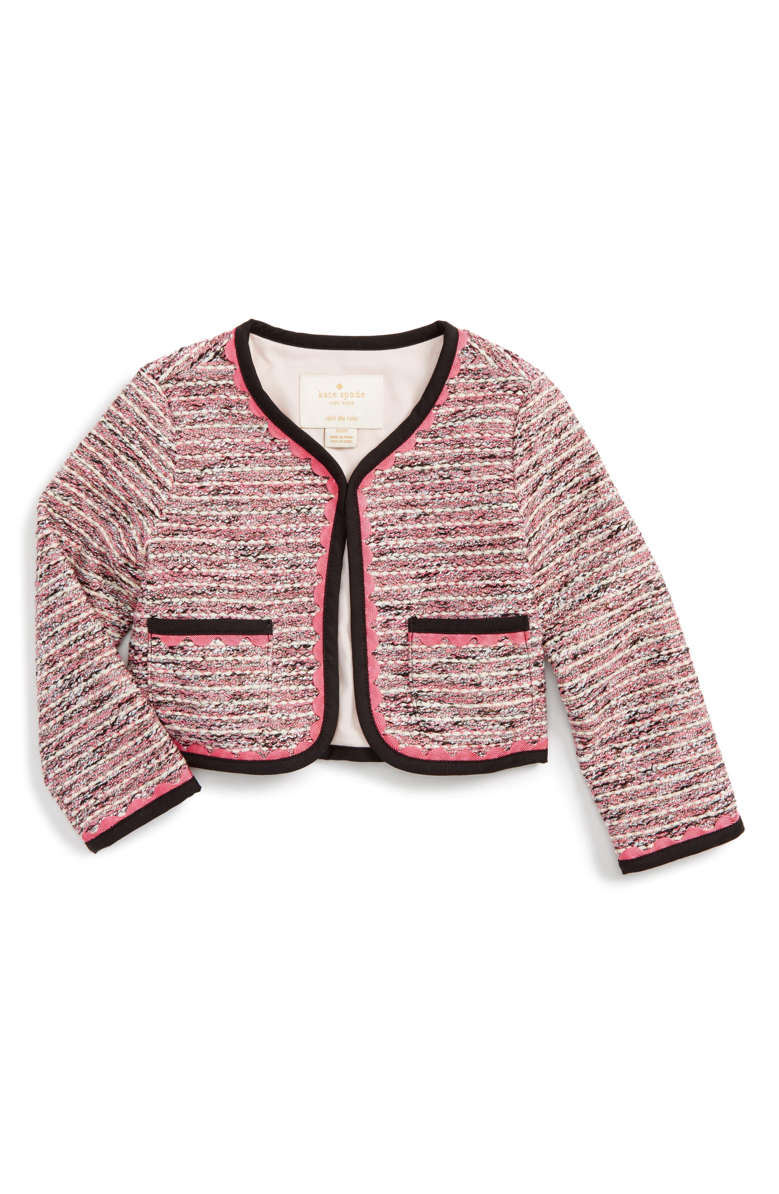 Main Image - kate spade new york tweed jacket (Toddler Girls & Little Girls)