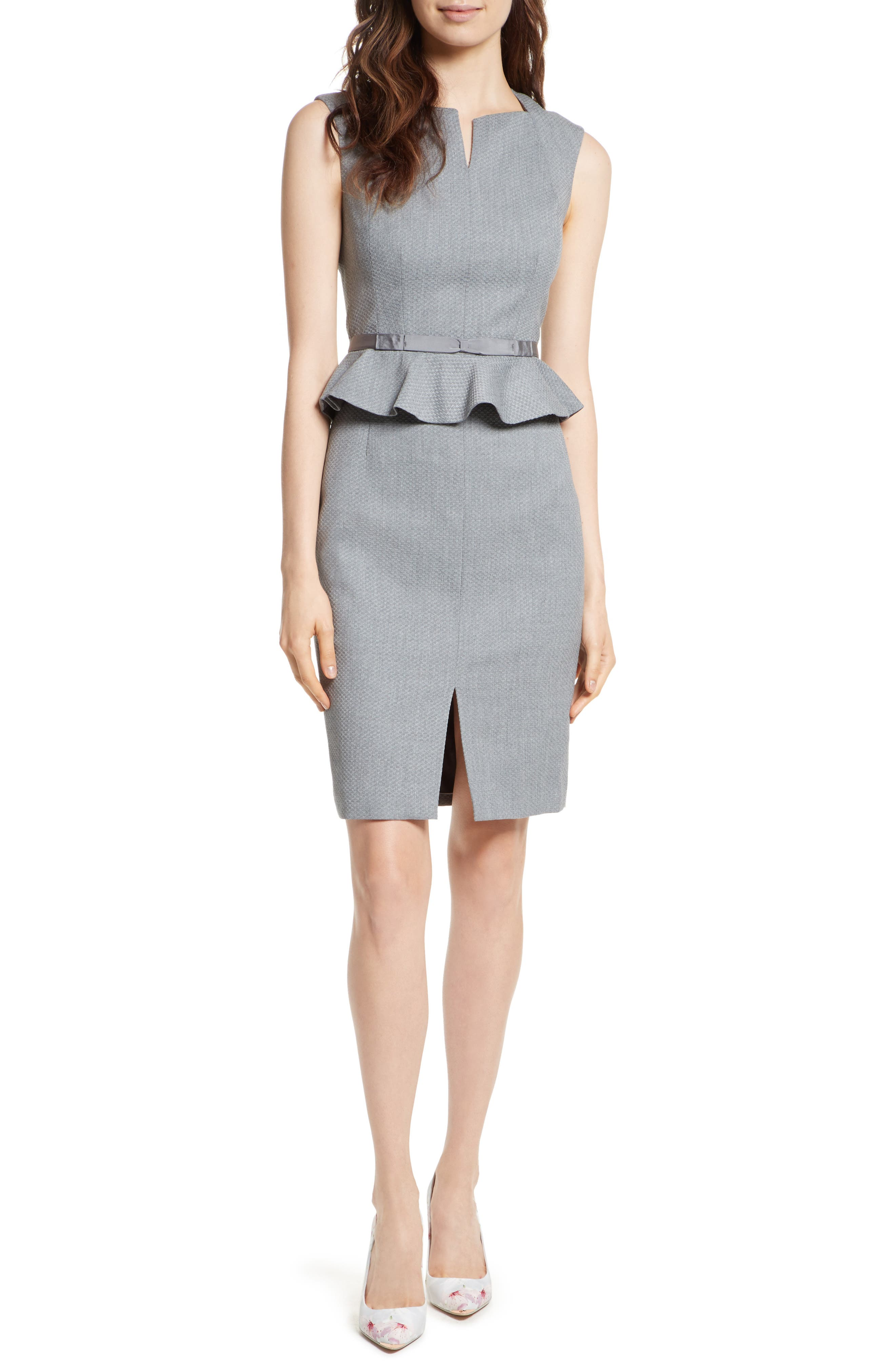 Nadaed Bow Detail Textured Peplum Dress,                         Main,                         color, Mid Grey