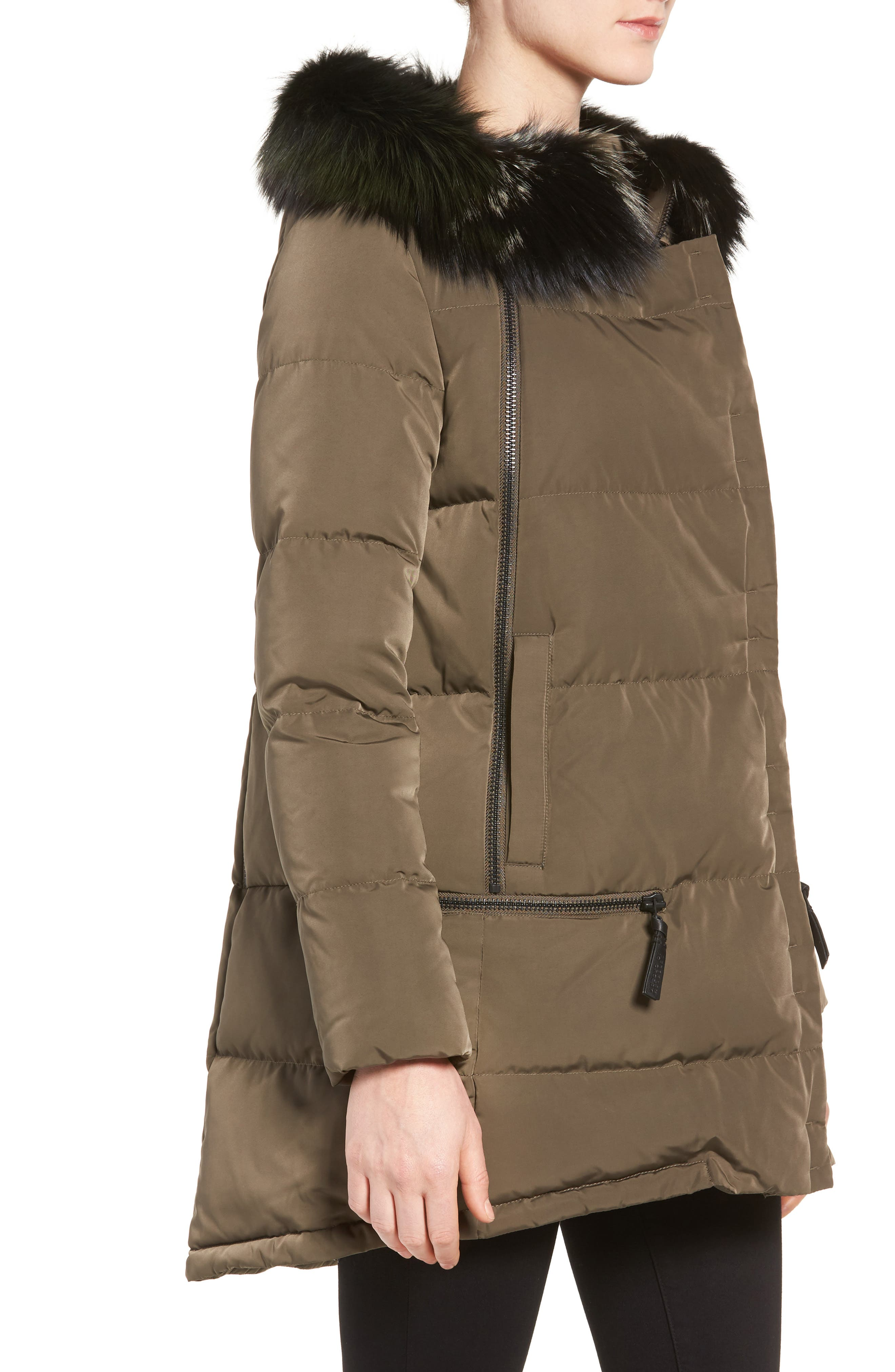 Relaxed Water Resistant Down Parka with Genuine Fox Fur Trim,                             Alternate thumbnail 3, color,                             Loden