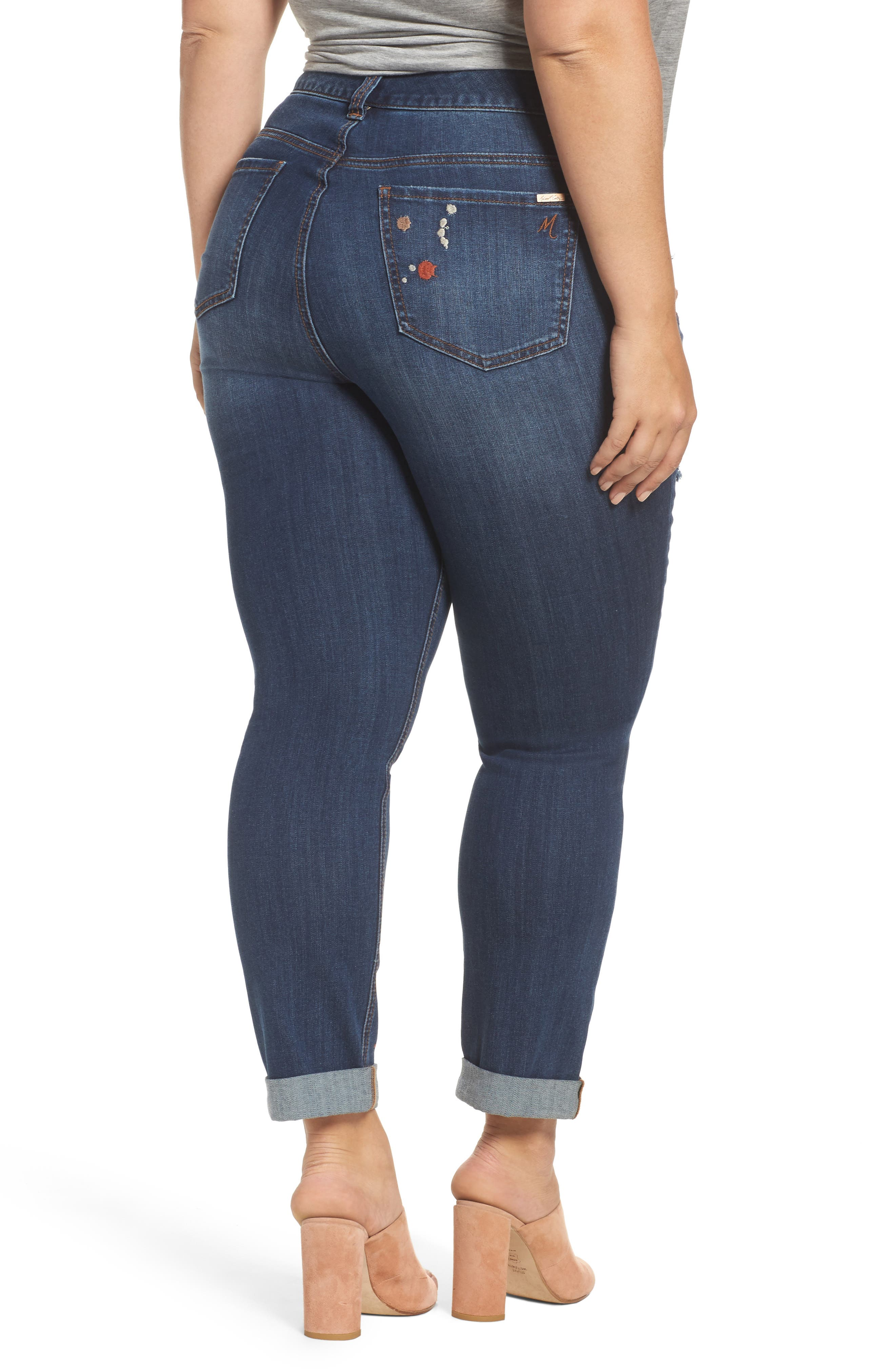Alternate Image 2  - Melissa McCarthy Seven7 Paint Splatter Stretch Skinny Jeans (Plus Size)
