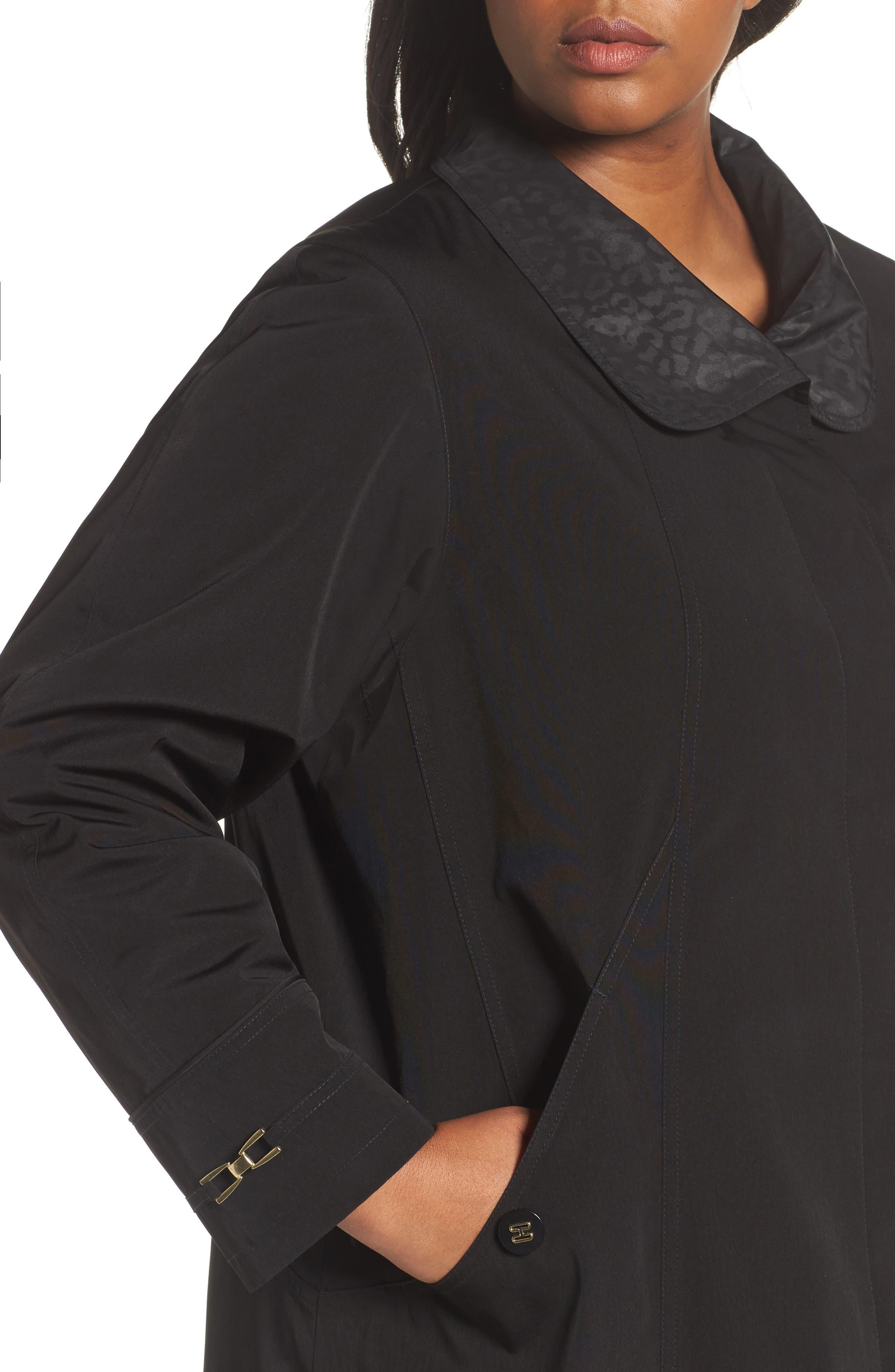 Alternate Image 4  - Gallery Long Silk Look Raincoat (Plus Size)
