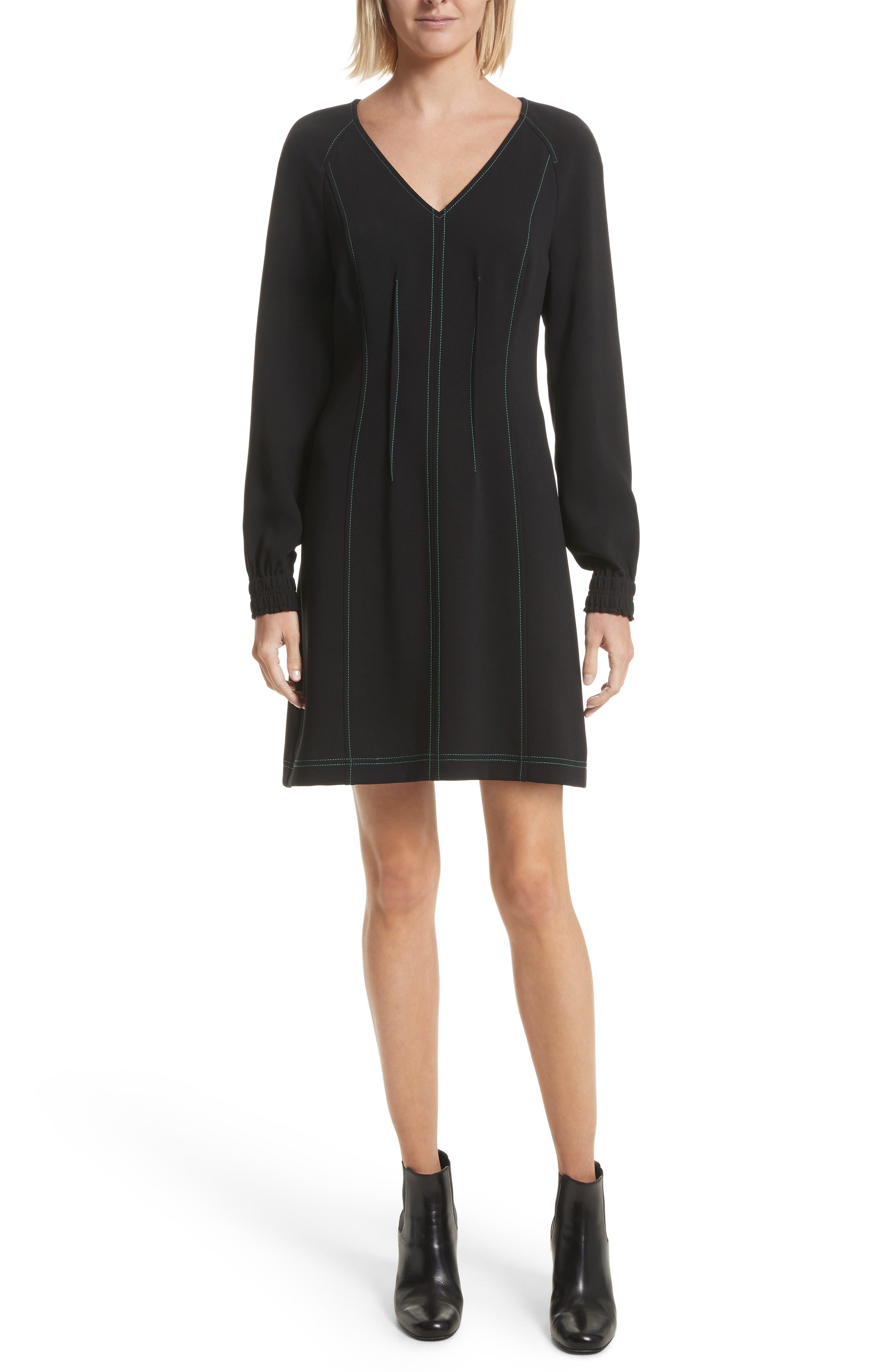 Contrast Stitch Dress,                             Main thumbnail 1, color,                             Black