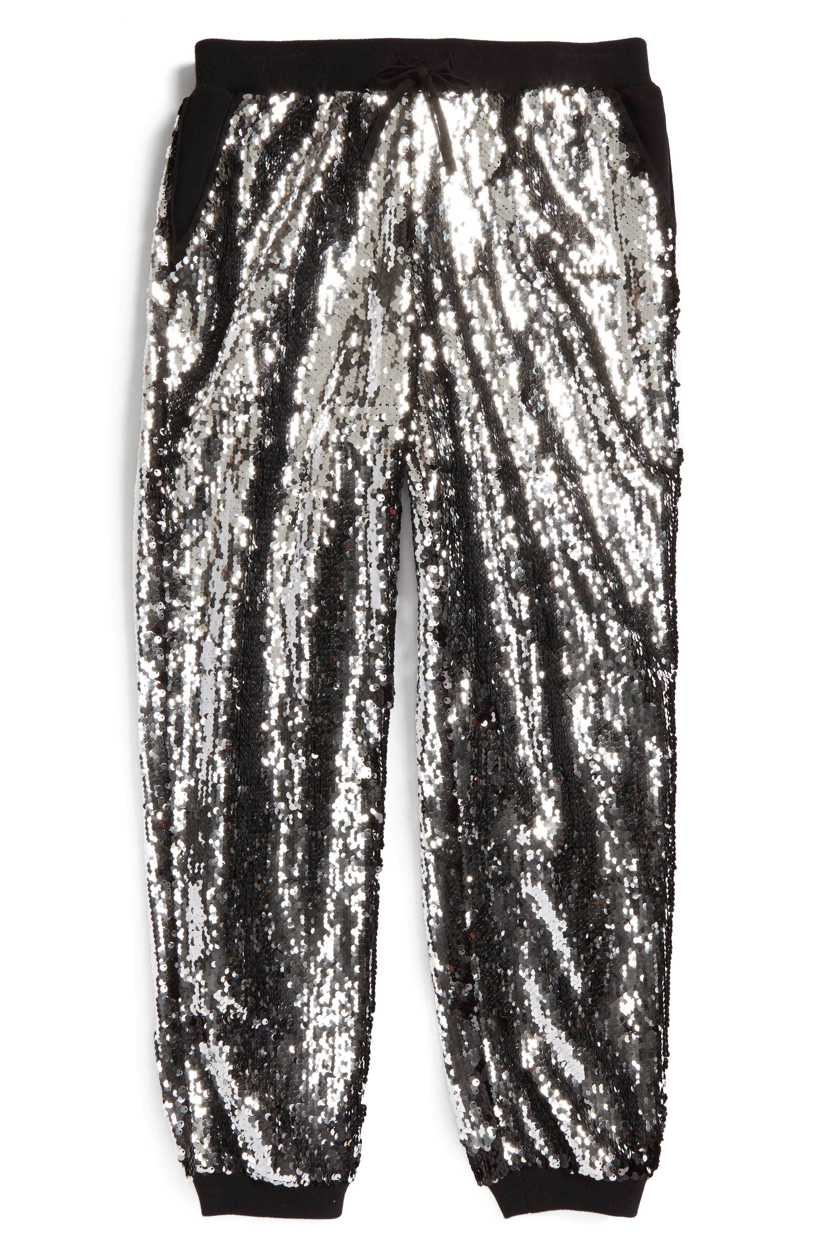 Sequin Jogger Pants,                             Alternate thumbnail 2, color,                             Silver/ Black