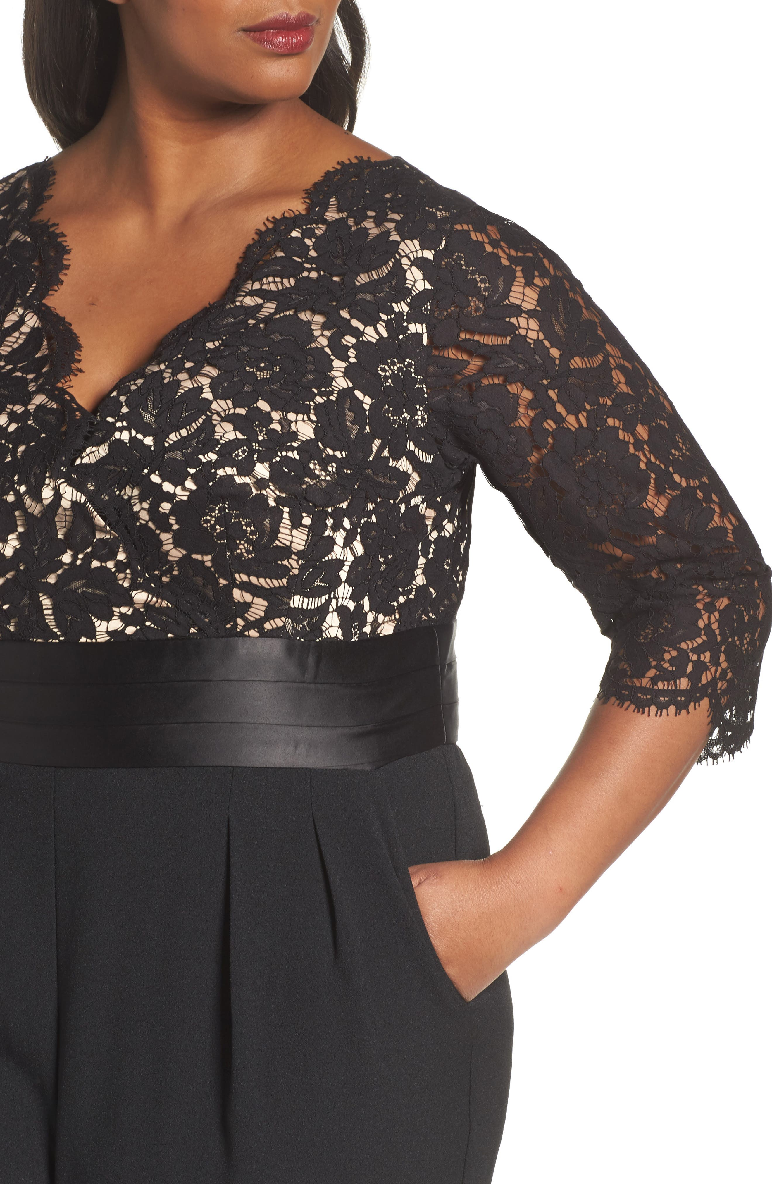 Alternate Image 4  - Eliza J Lace Bodice Jumpsuit (Plus Size)