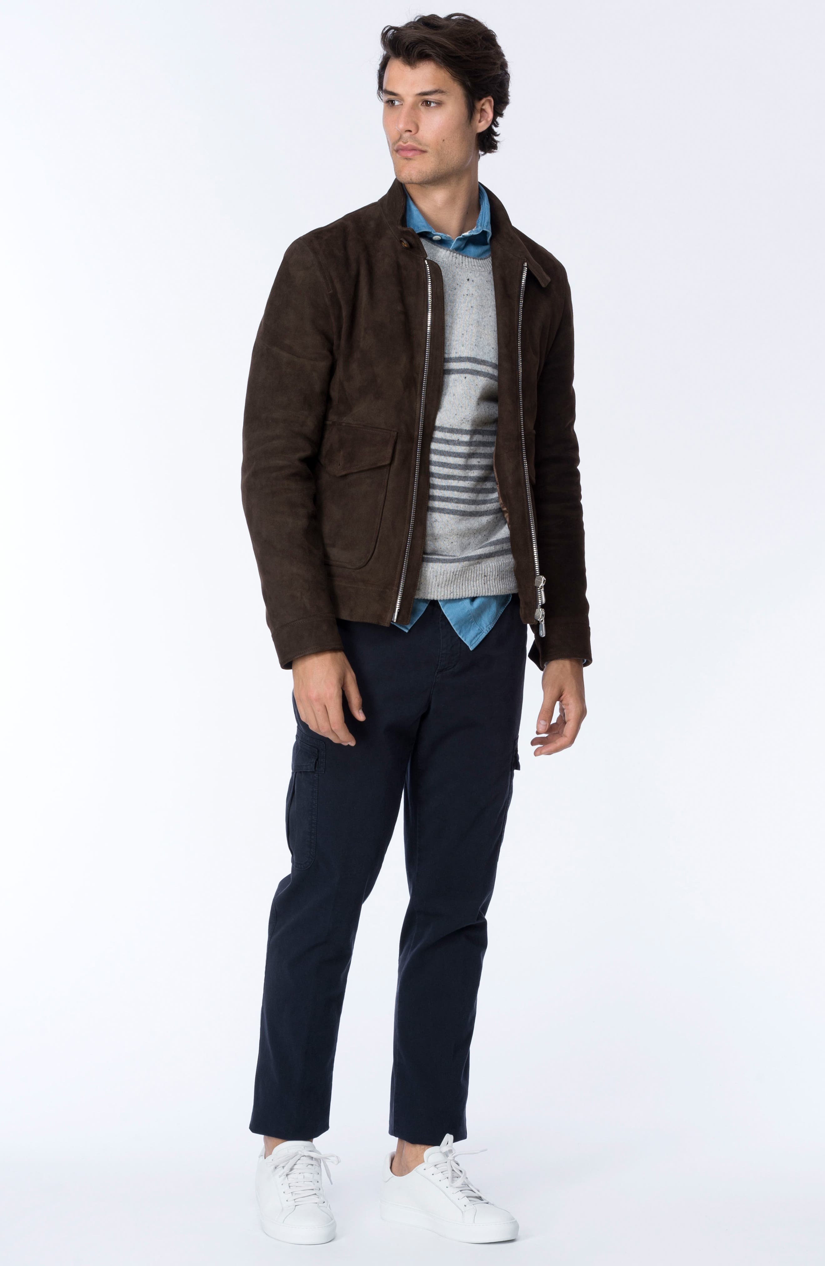 Suede Jacket,                             Alternate thumbnail 2, color,                             Chocolate Brown