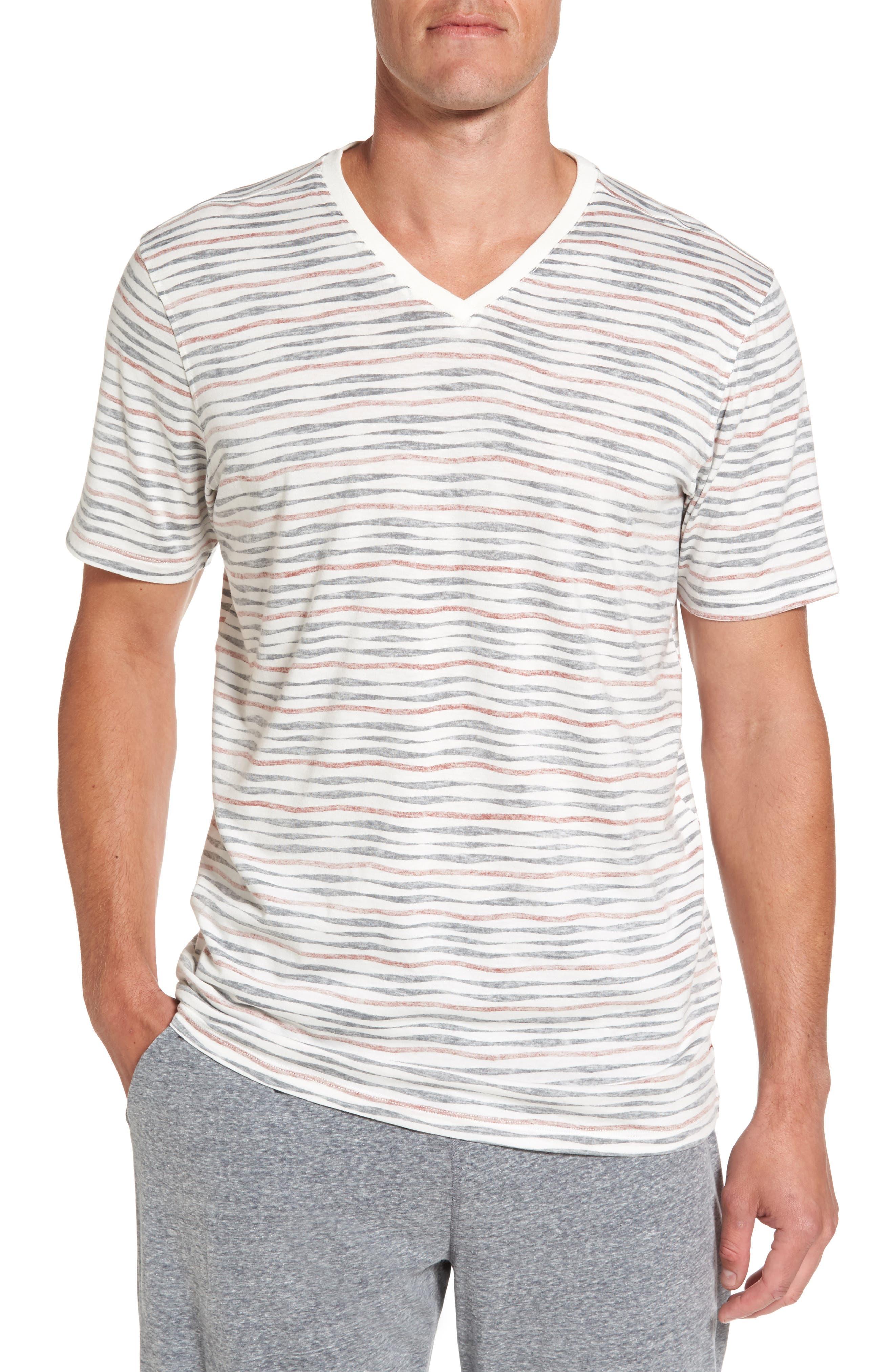 V-Neck T-Shirt,                         Main,                         color, Red/ Chalkboard Stripe