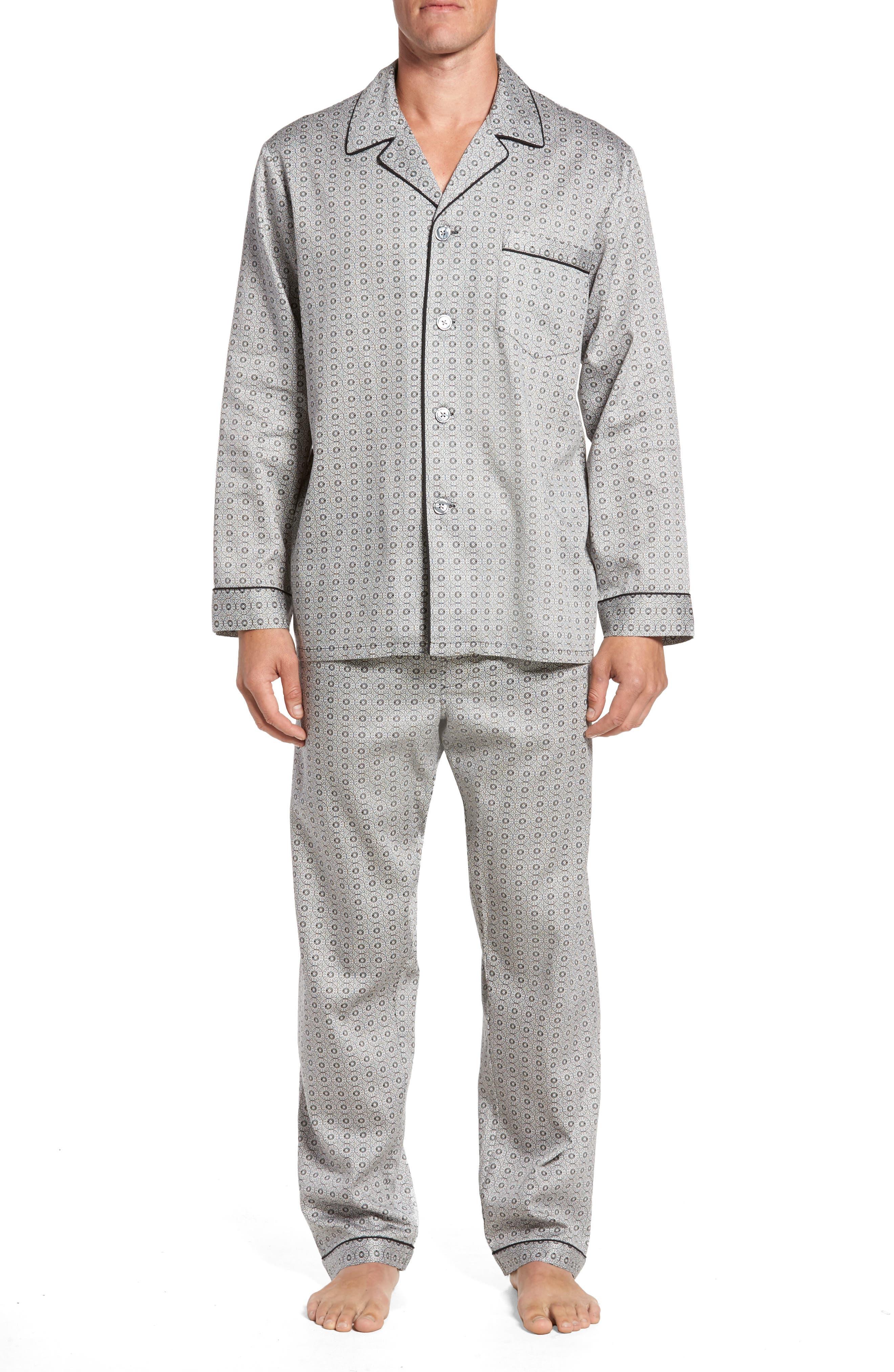 Winterlude Patterned Pajama Set,                         Main,                         color, Black