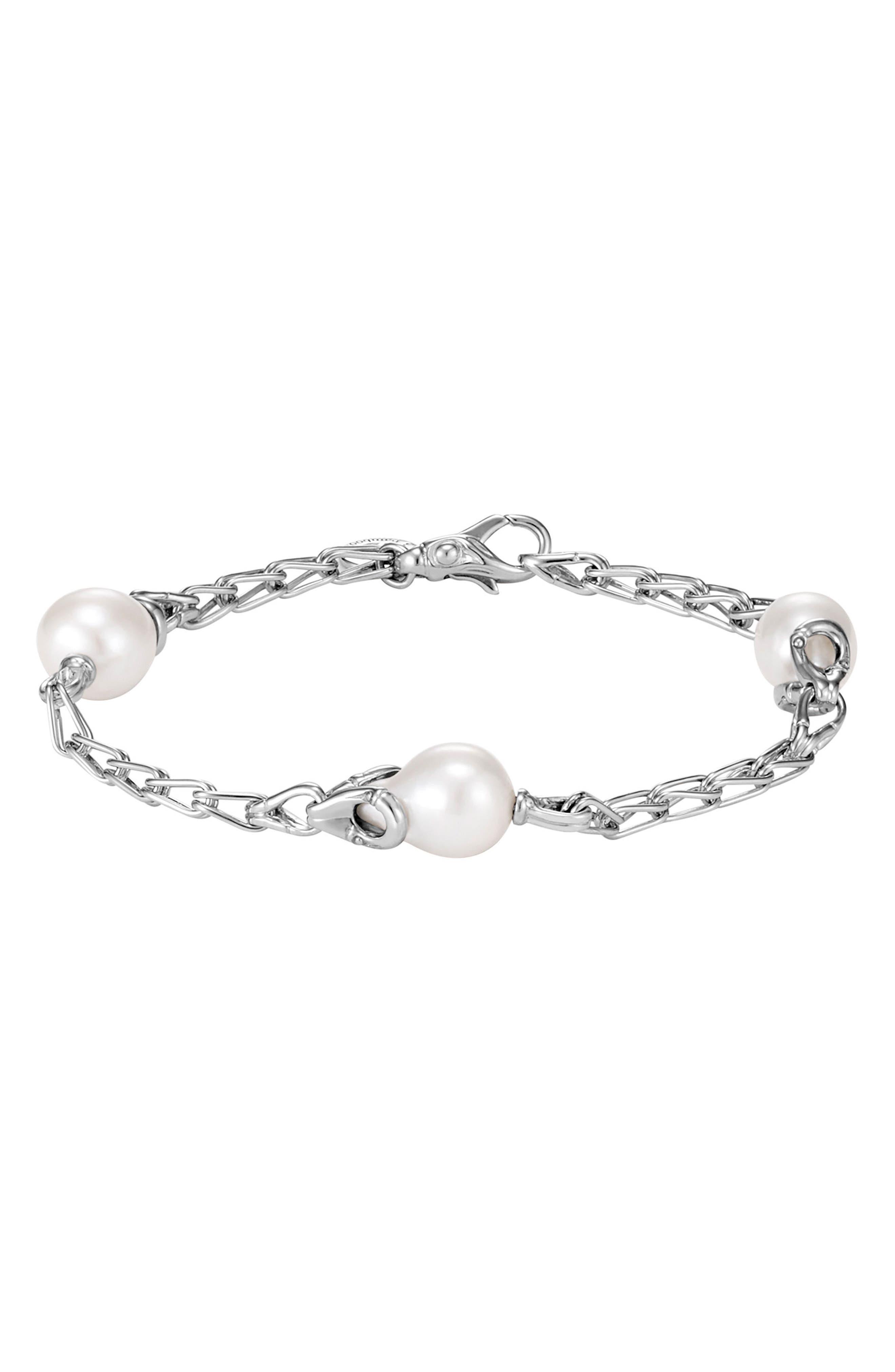 Bamboo Pearl Station Bracelet,                             Main thumbnail 1, color,                             Silver/ Pearl
