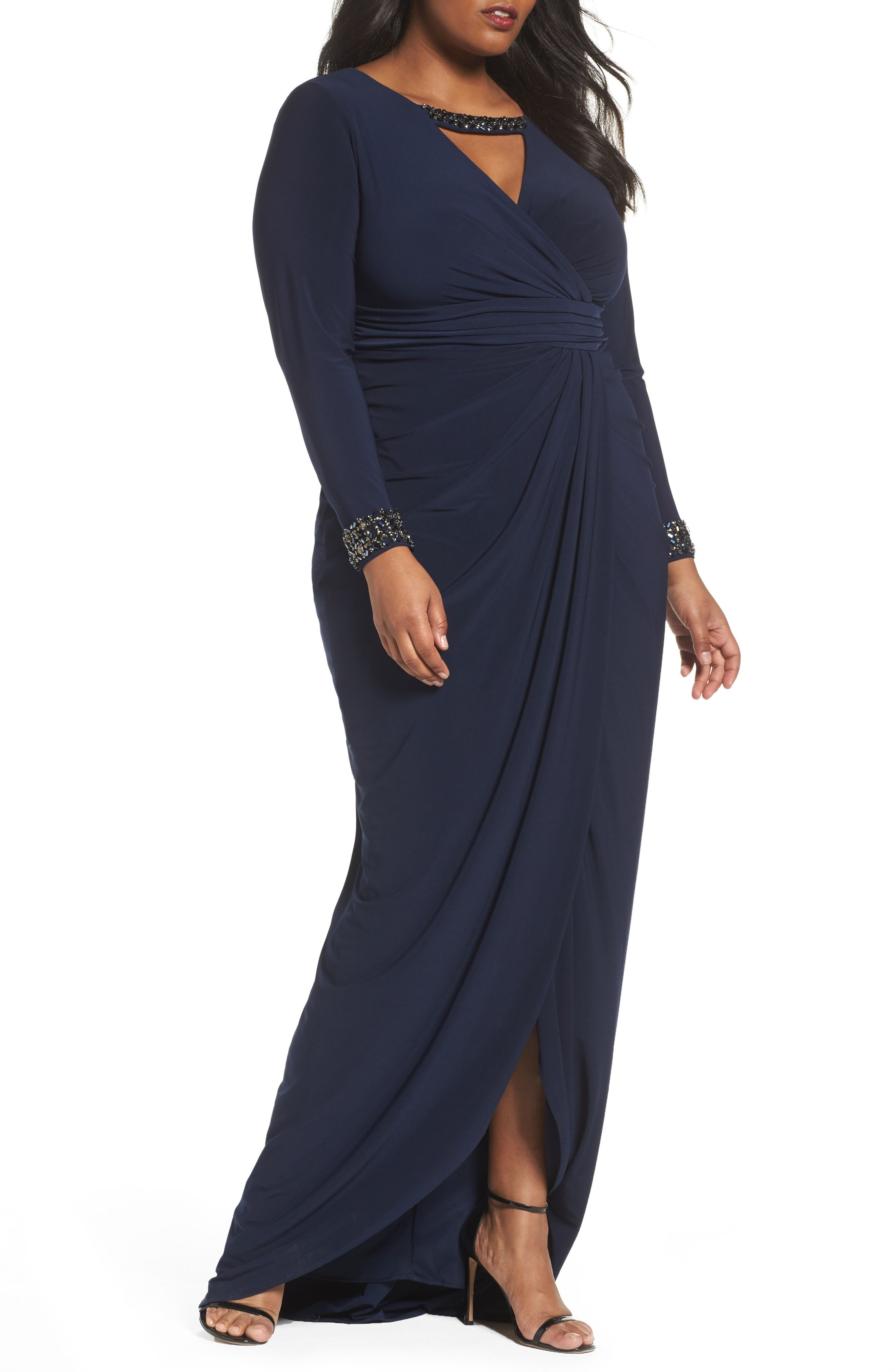 Wrap Front Jersey Gown,                             Main thumbnail 1, color,                             Midnight