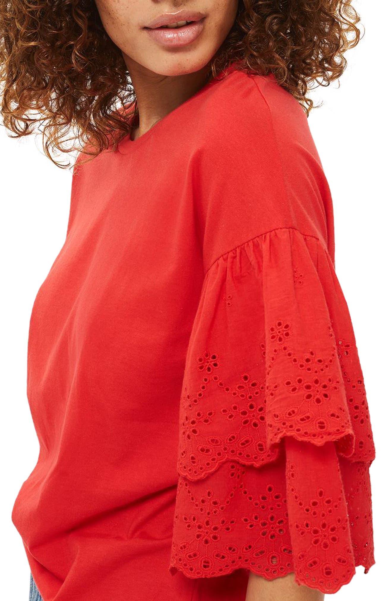 Alternate Image 3  - Topshop Eyelet Layer Sleeve Tee T-Shirt (Regular & Petite)