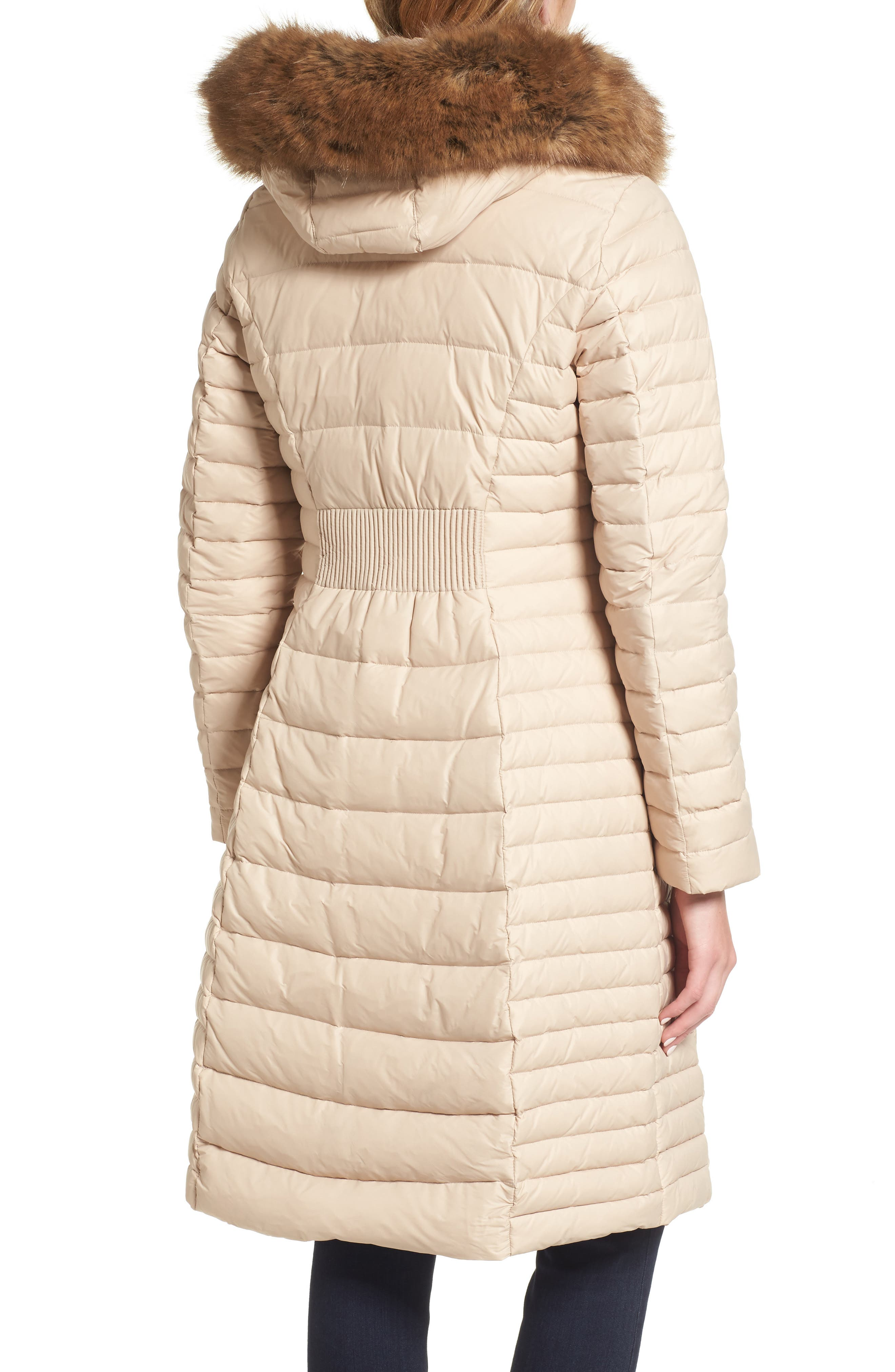 down puffer coat with faux fur trim,                             Alternate thumbnail 2, color,                             Deco Beige