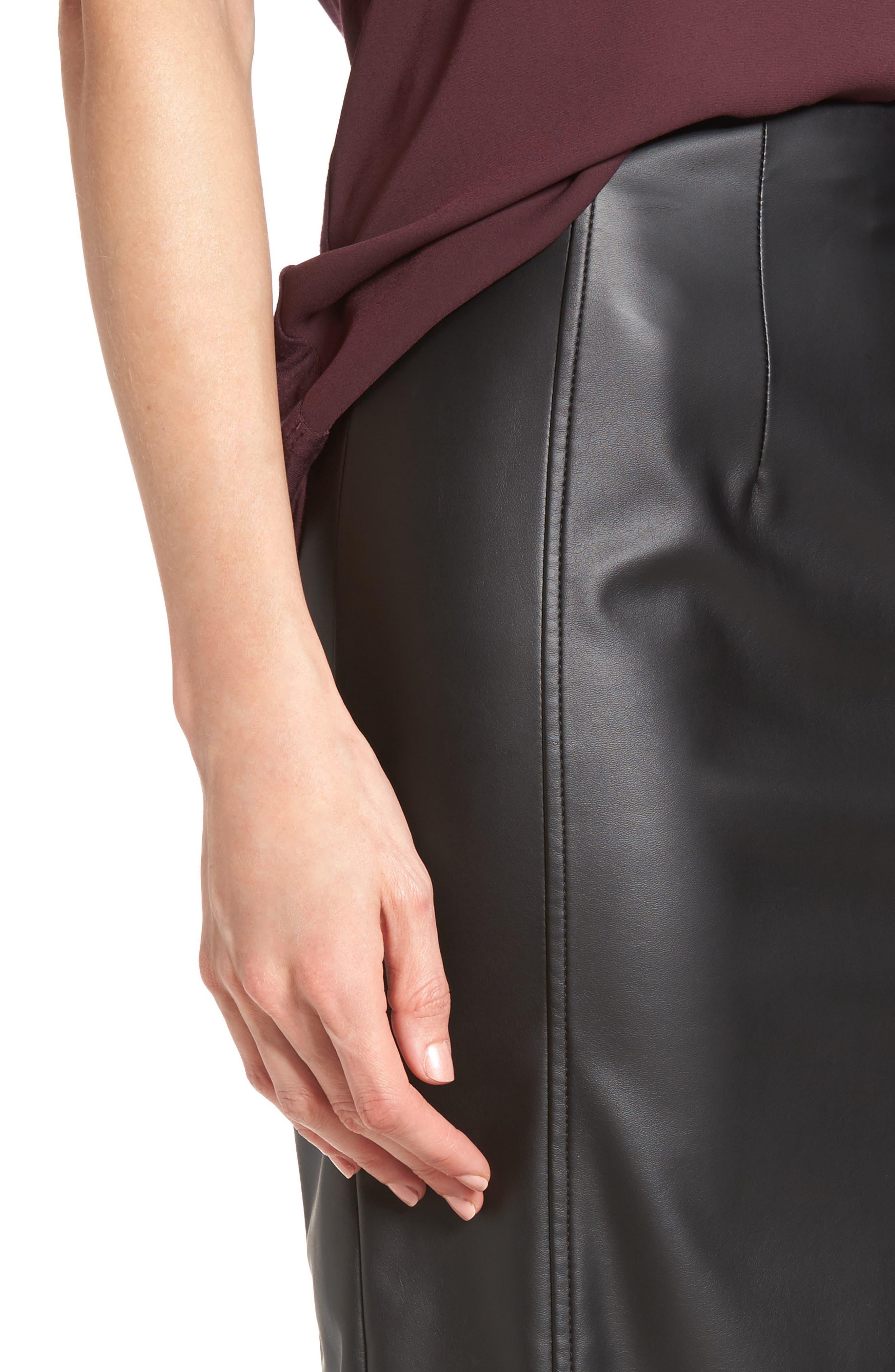 Alternate Image 5  - Halogen® Faux Leather Pencil Skirt (Regular & Petite)