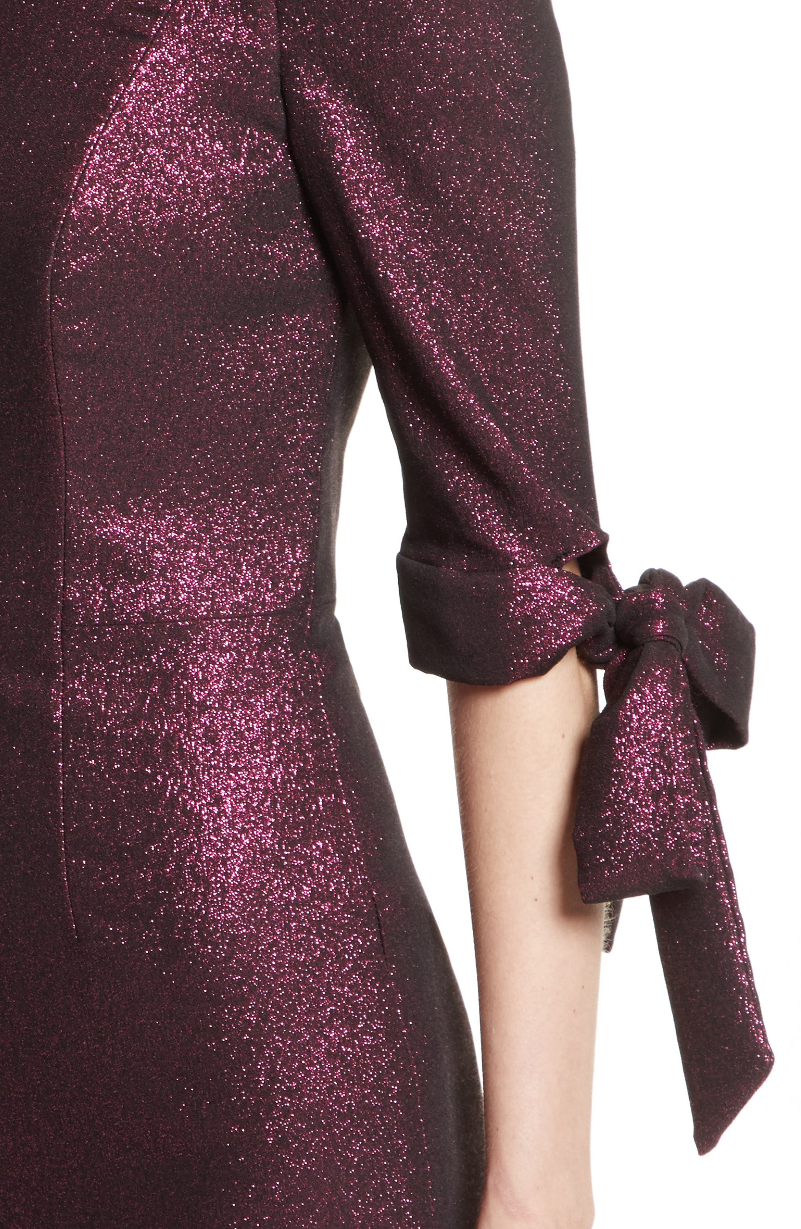 Stretch Metallic Minidress,                             Alternate thumbnail 4, color,                             Fuchsia