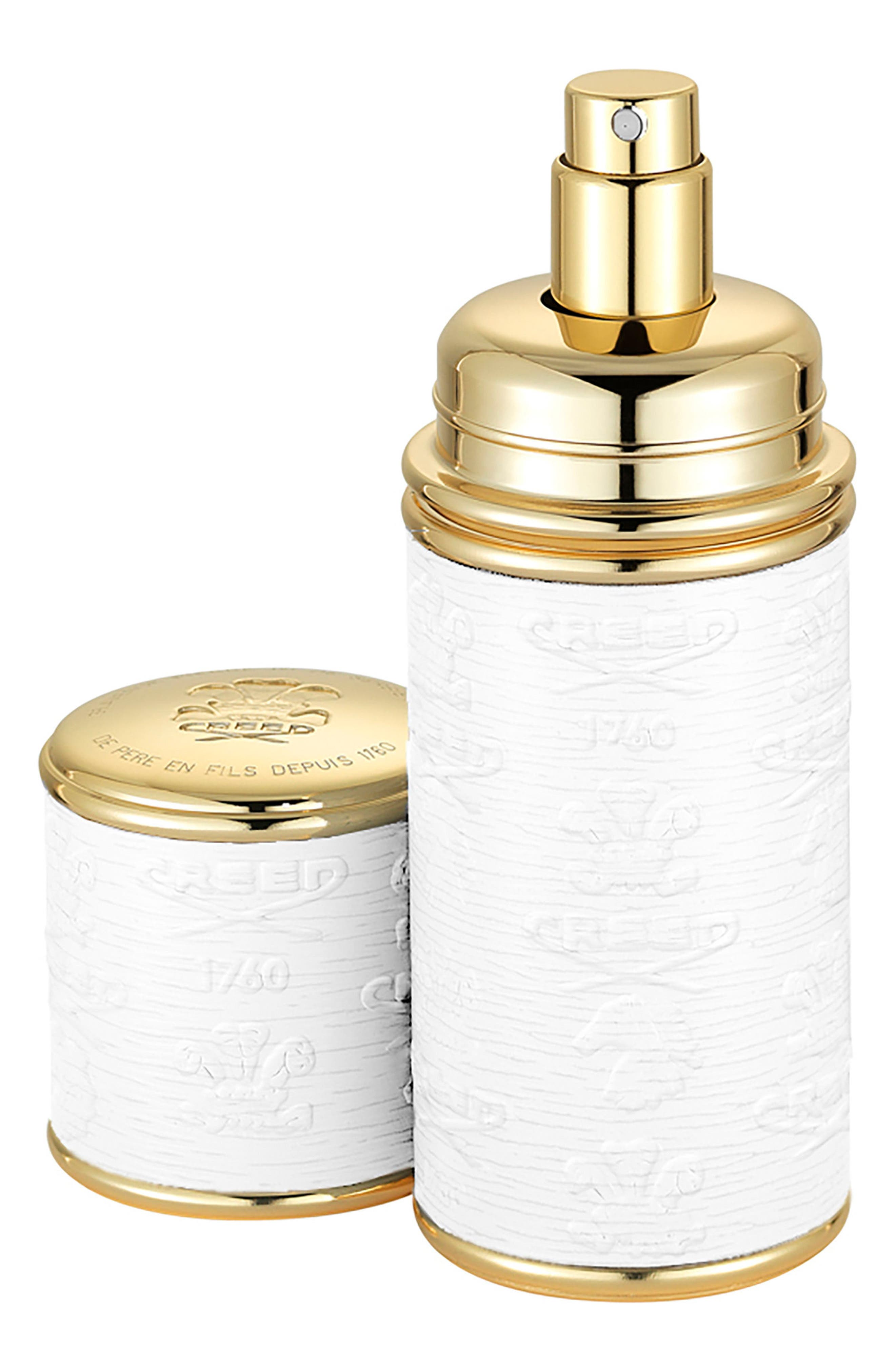 White with Gold Trim Leather Atomizer,                         Main,                         color, No Color