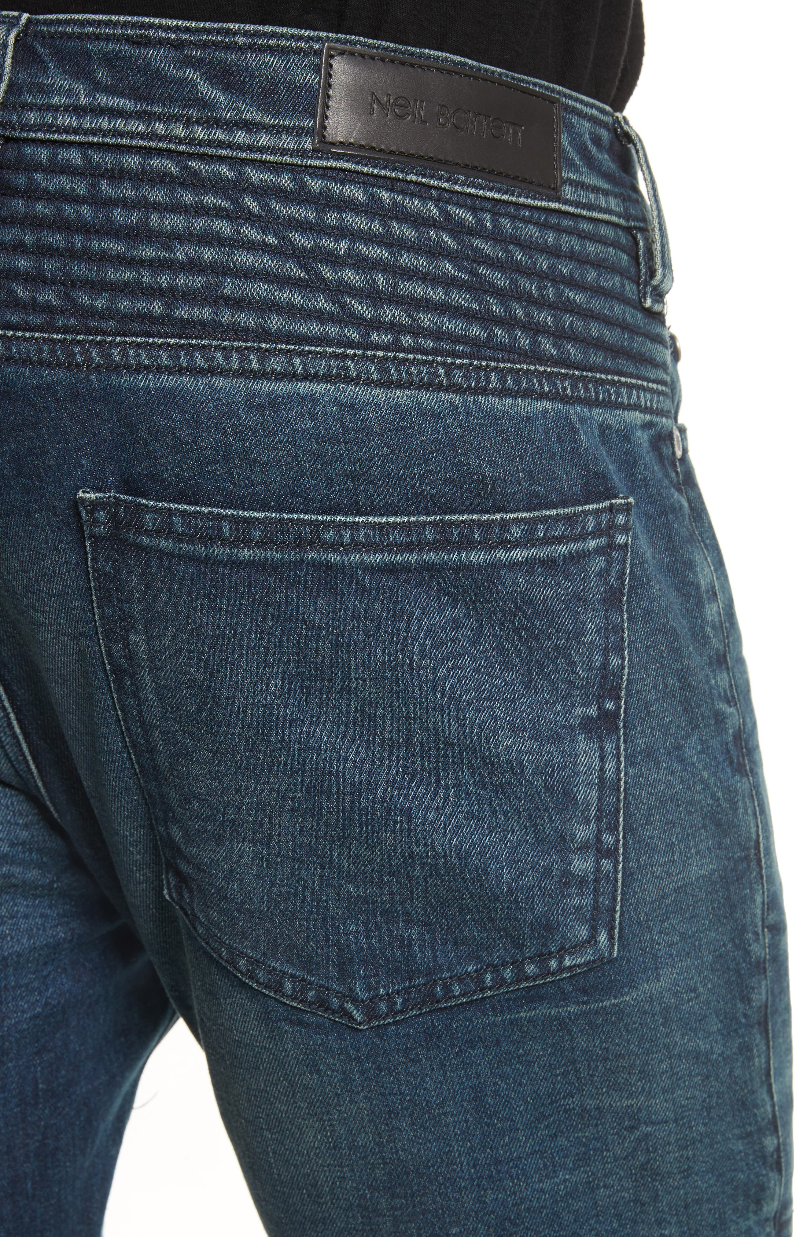 Moto Jeans,                             Alternate thumbnail 4, color,                             Indigo Blue