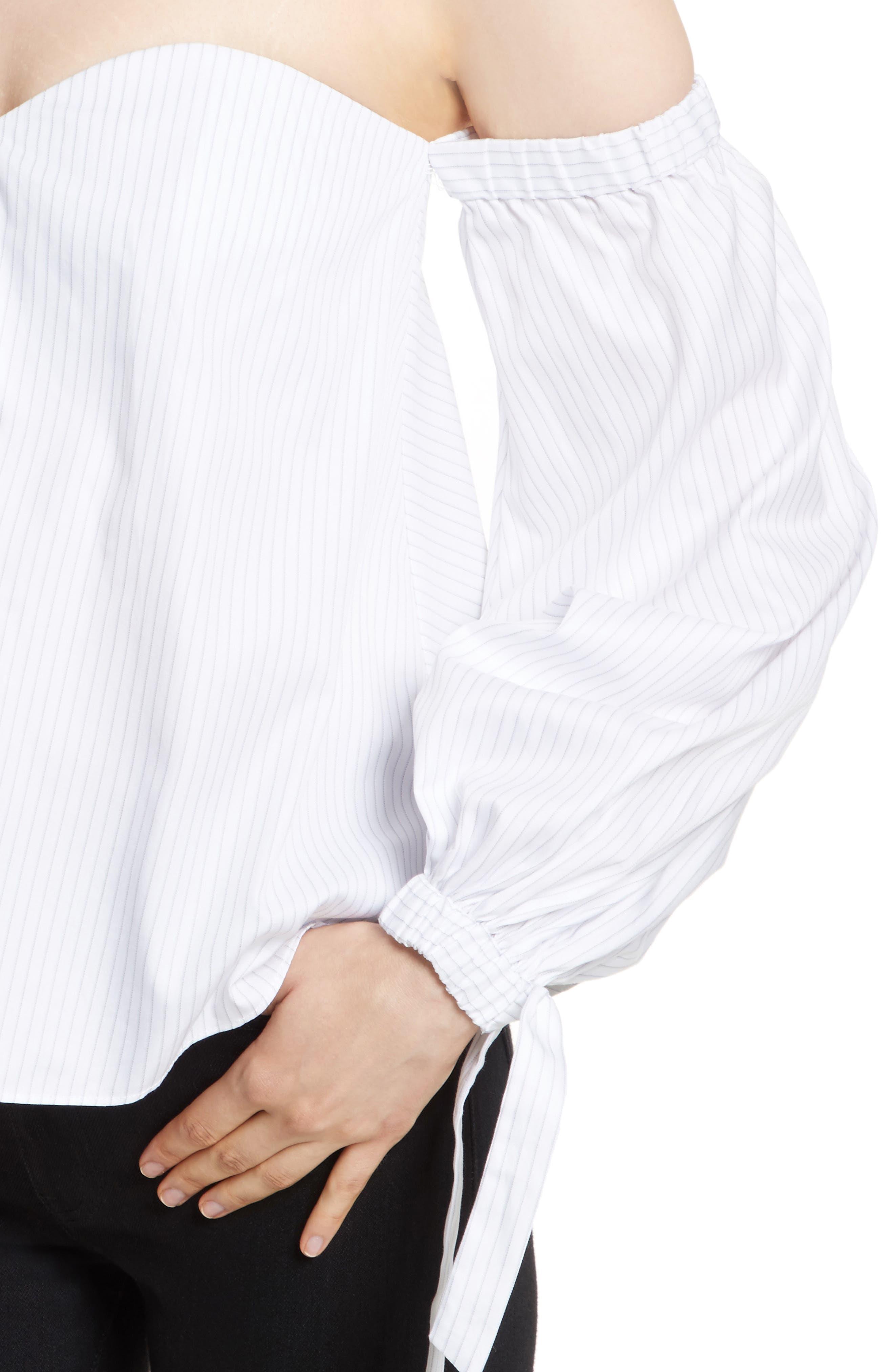 Janey Shirting Stripe Top,                             Alternate thumbnail 4, color,                             Grey Stripe