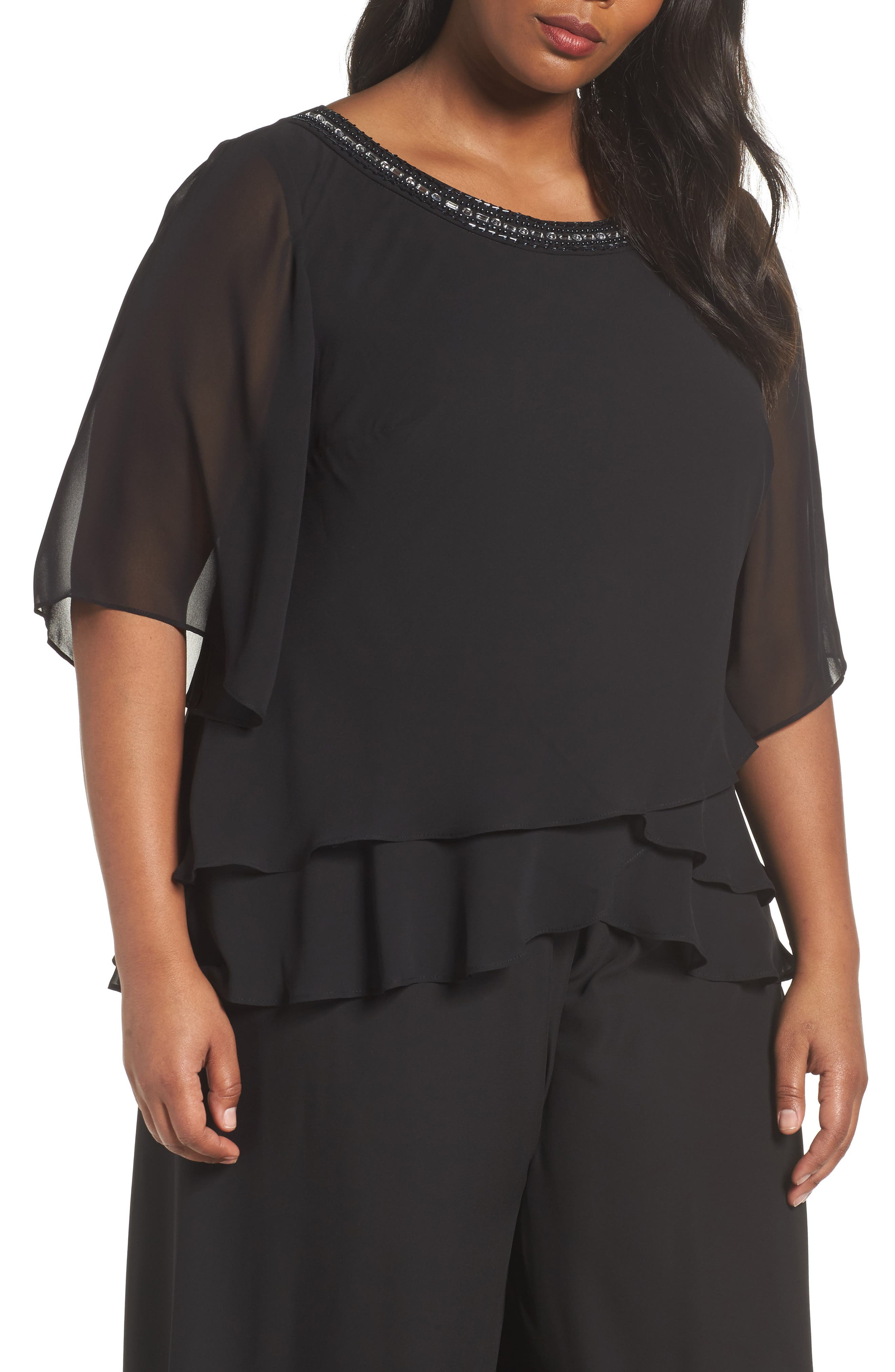 Embellished Tiered Chiffon Blouse,                         Main,                         color, Black