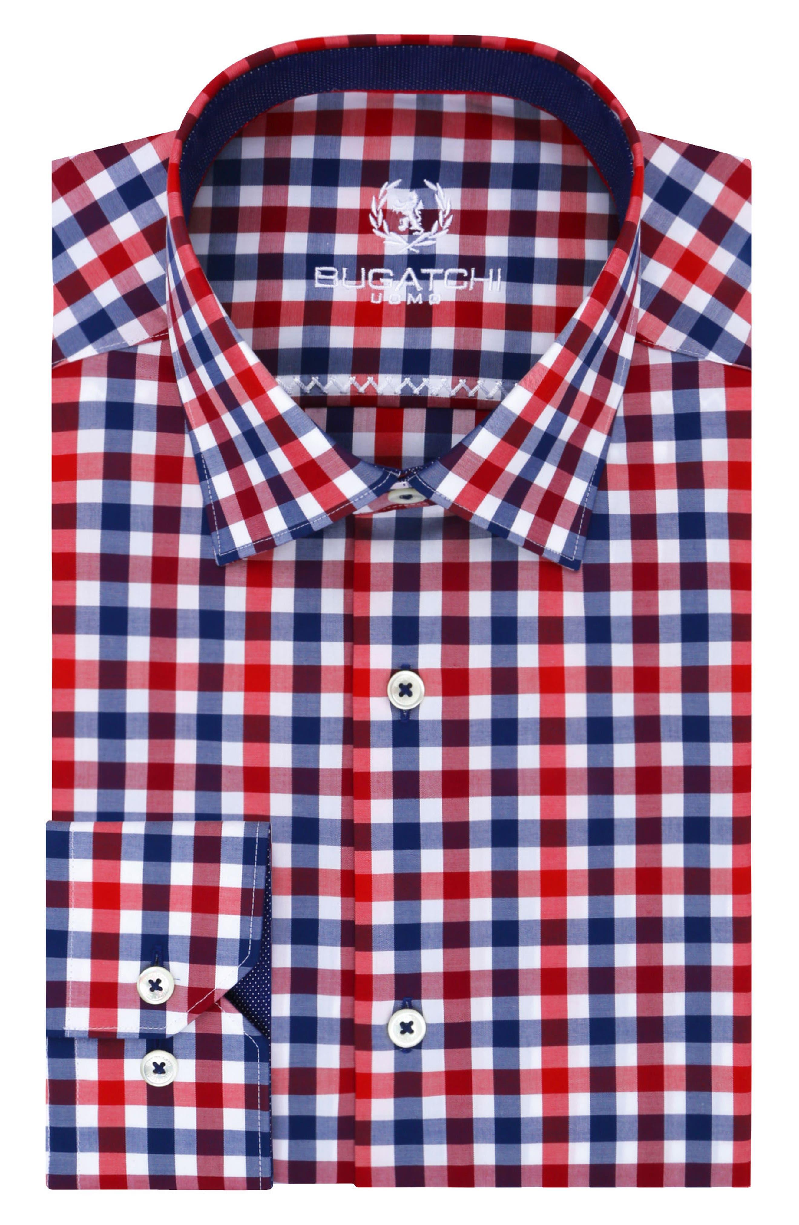 Trim Fit Check Dress Shirt,                         Main,                         color, Ruby