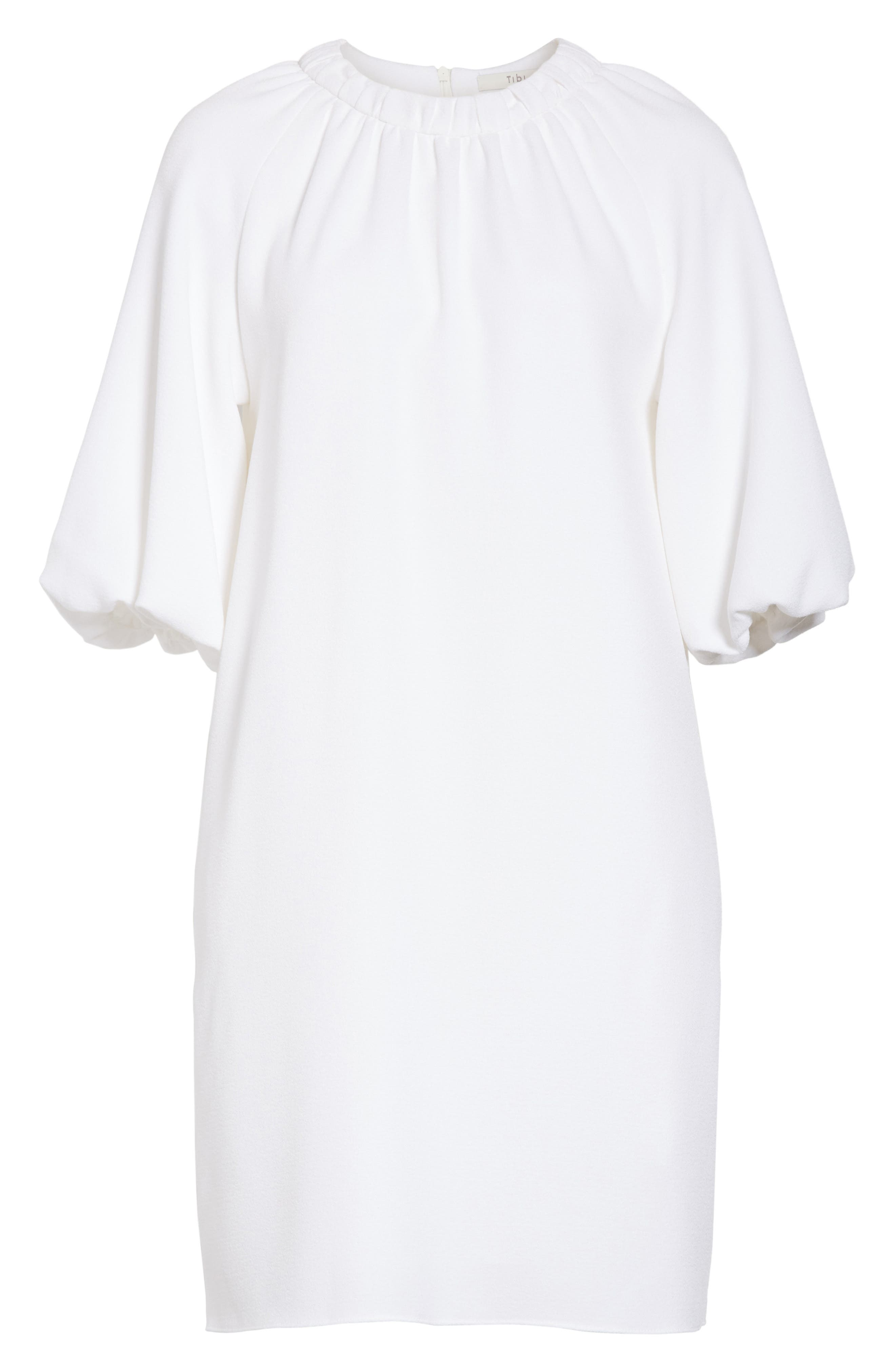 Shirred Neck Mica Crepe Shift Dress,                             Alternate thumbnail 6, color,                             White