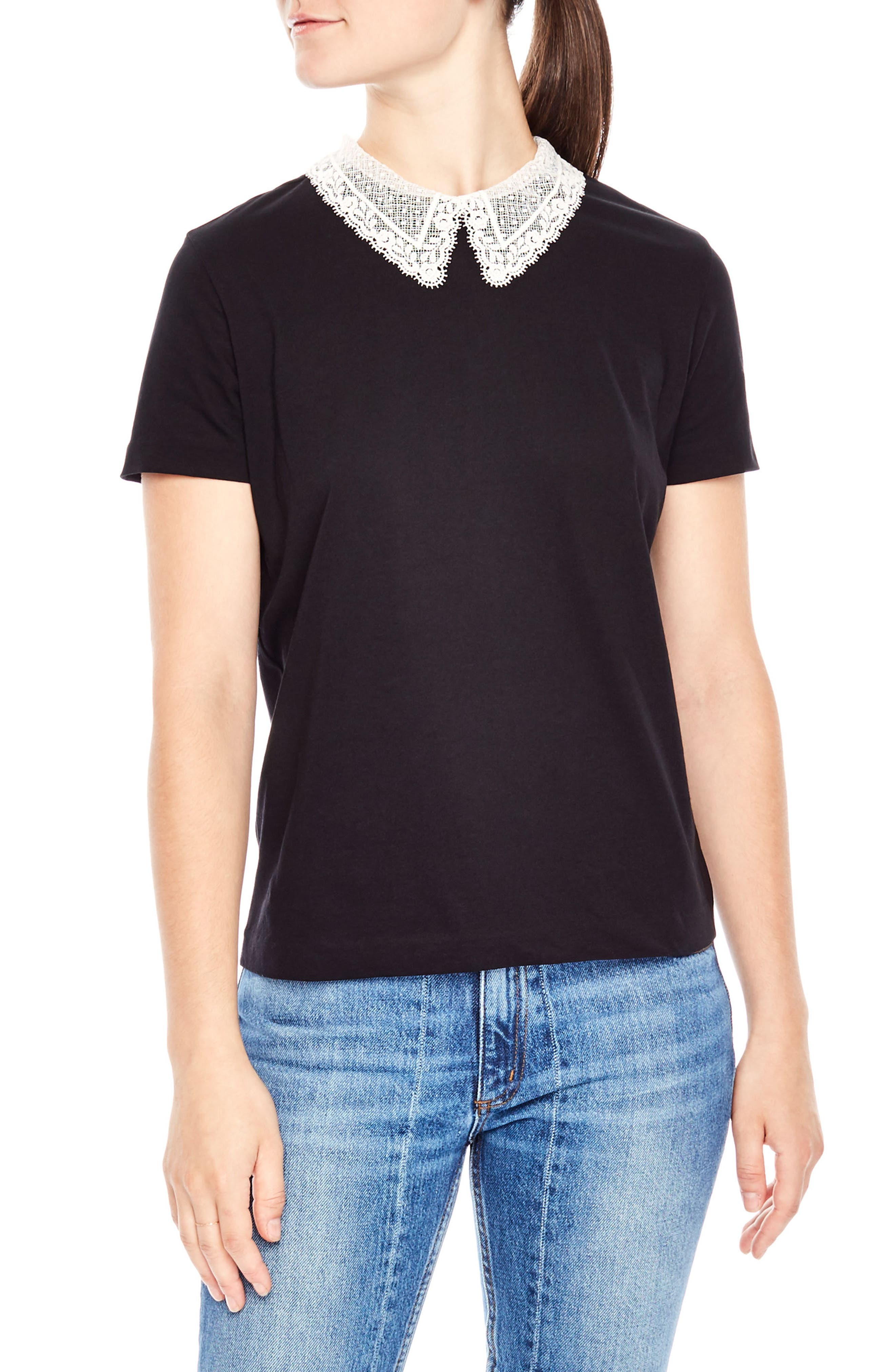 Lace Collar Tee,                         Main,                         color, Black