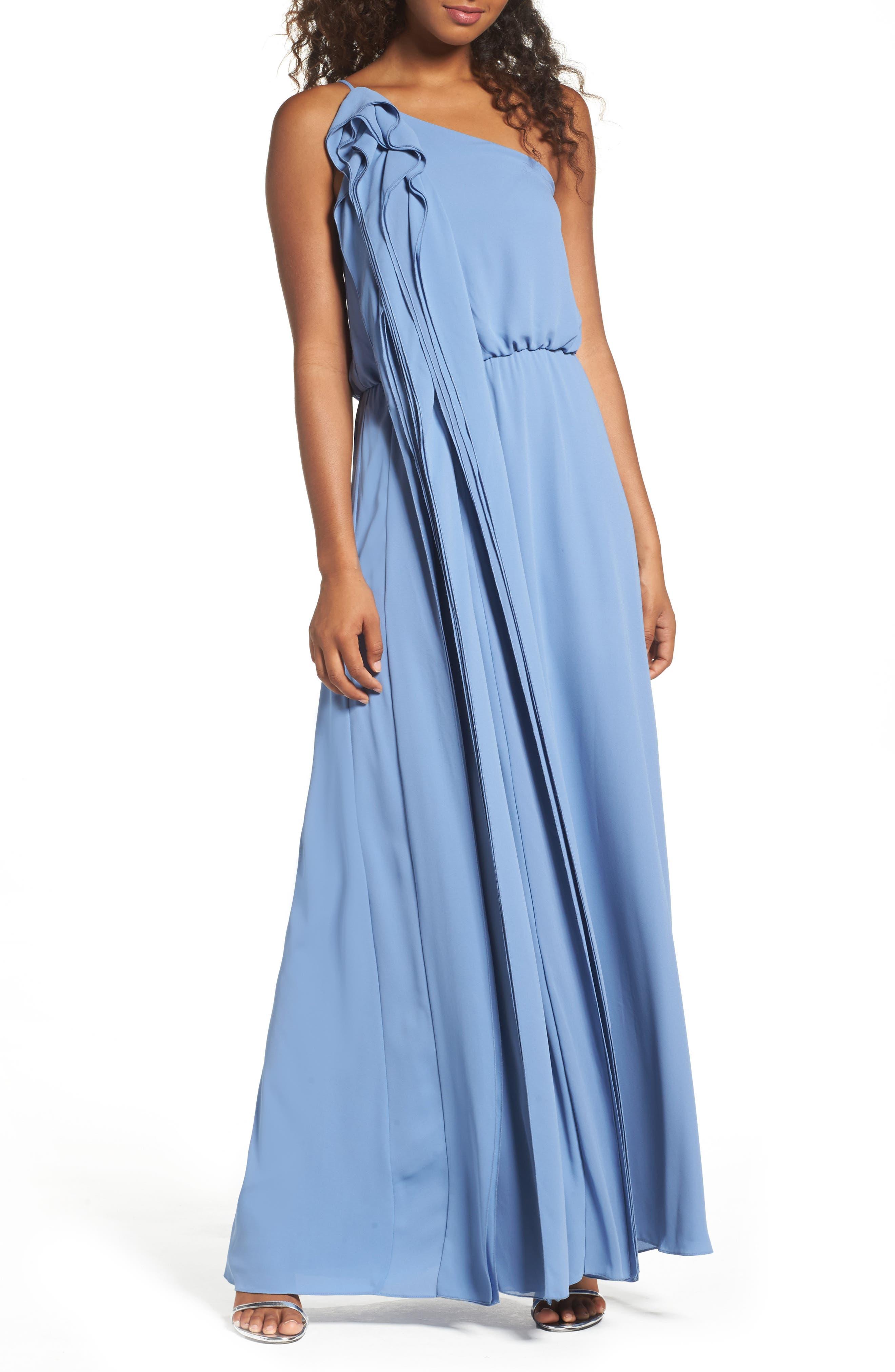 BCBGMAXAZRIA Waterfall Ruffle One-Shoulder Gown