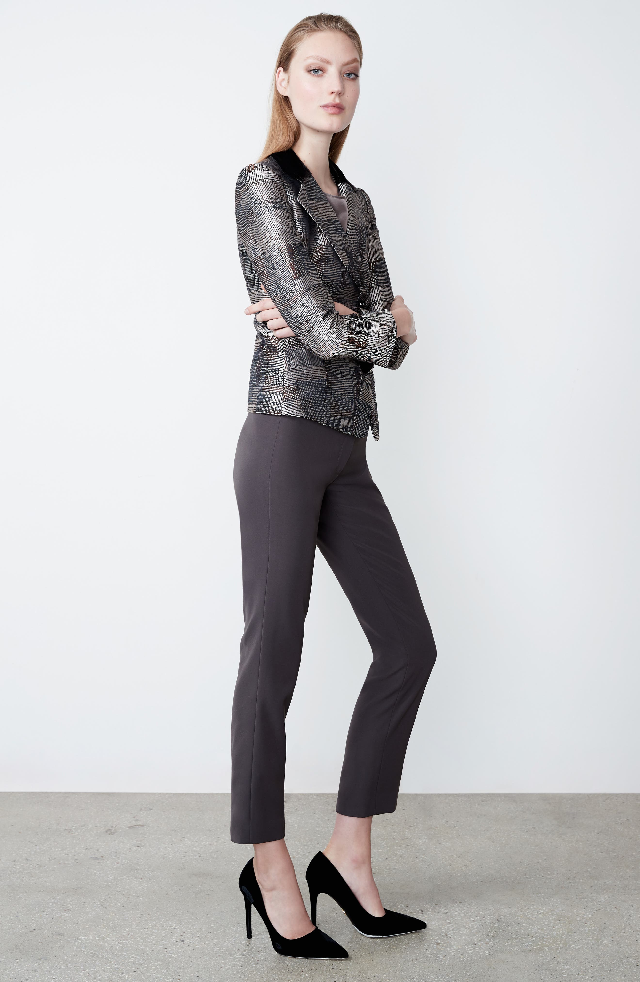 Alternate Image 8  - Armani Collezioni Panel Jacquard Asymmetrical Jacket